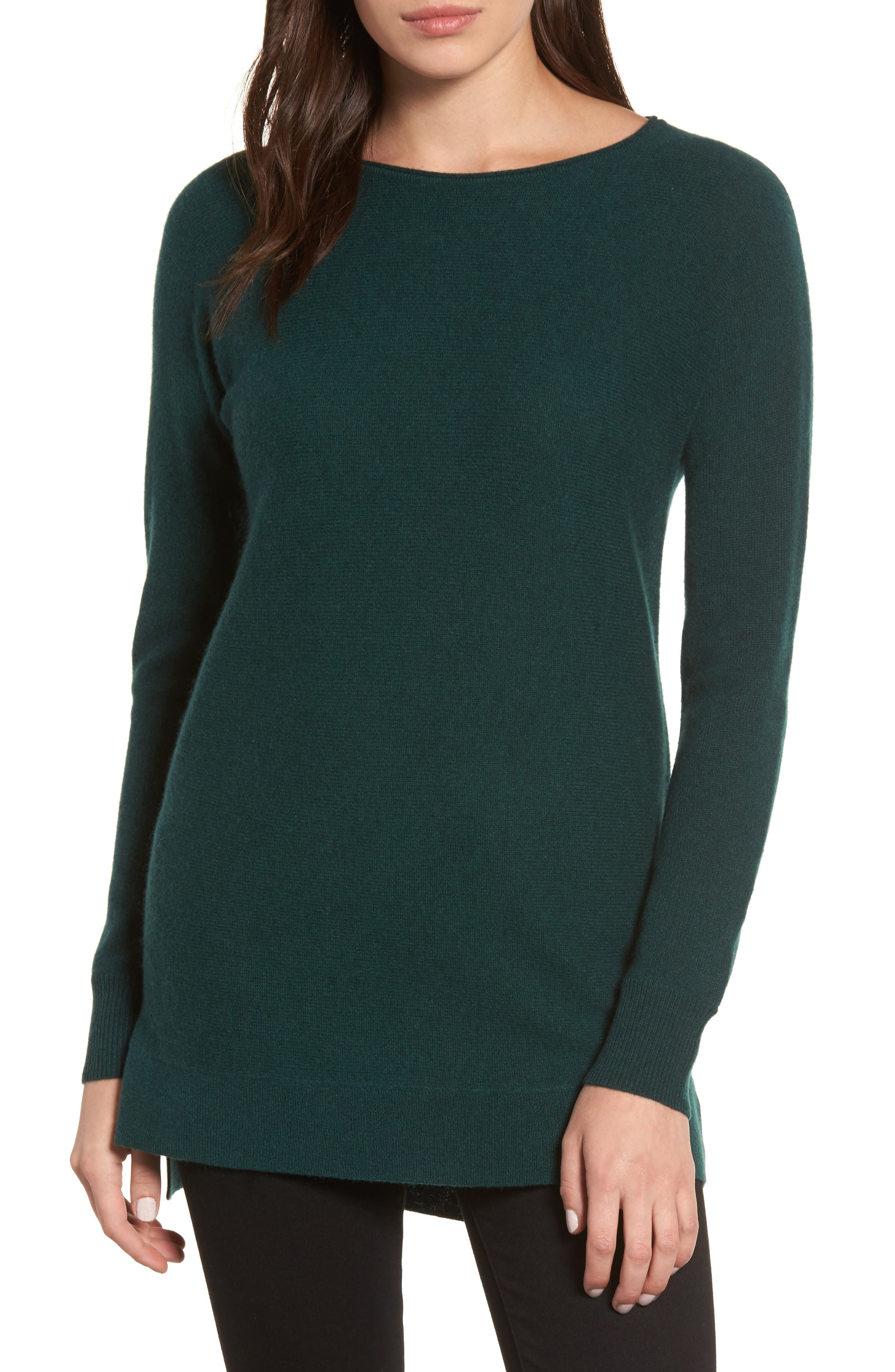 High/Low Wool & Cashmere Tunic Sweater,                             Main thumbnail 5, color,