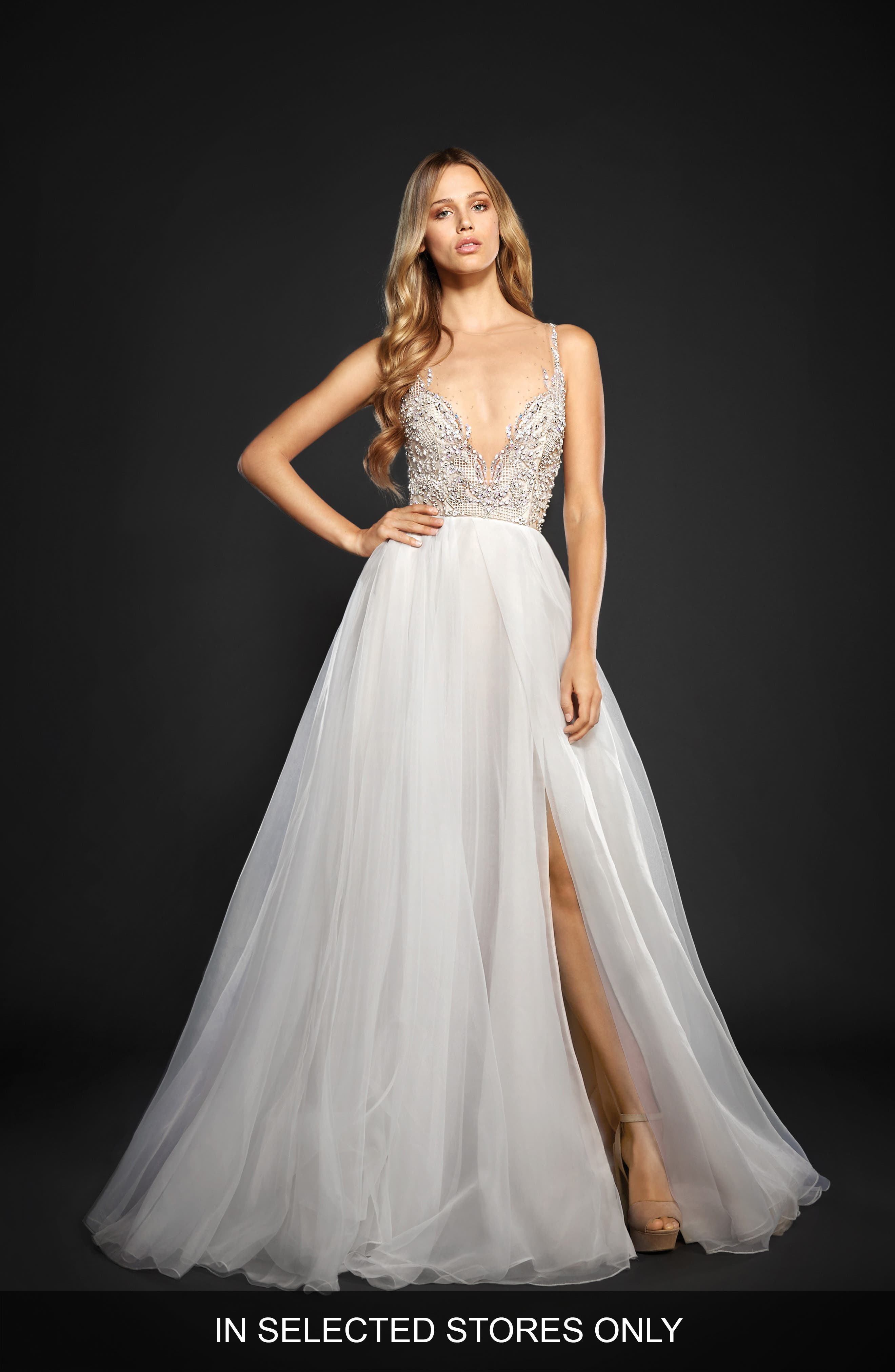 Kenny Organza A-Line Gown,                             Main thumbnail 1, color,                             MOONDUST