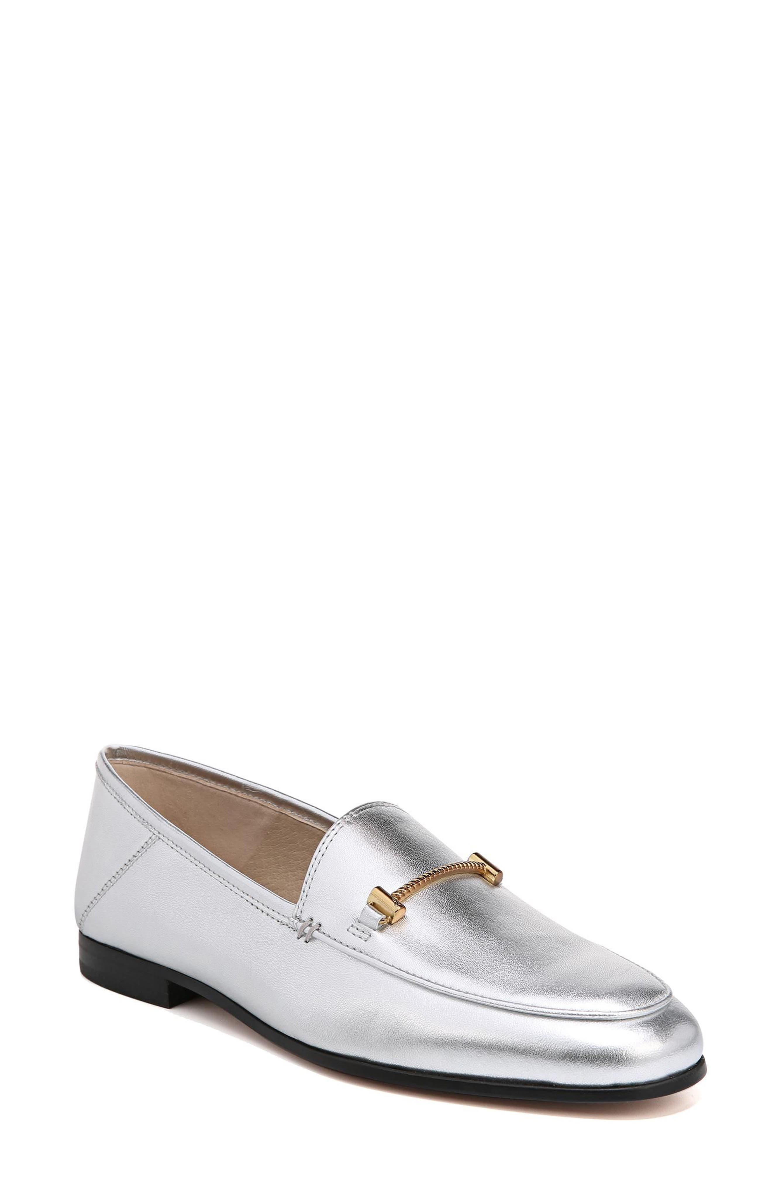 Lior Loafer,                             Main thumbnail 1, color,                             SOFT SILVER METALLIC LEATHER