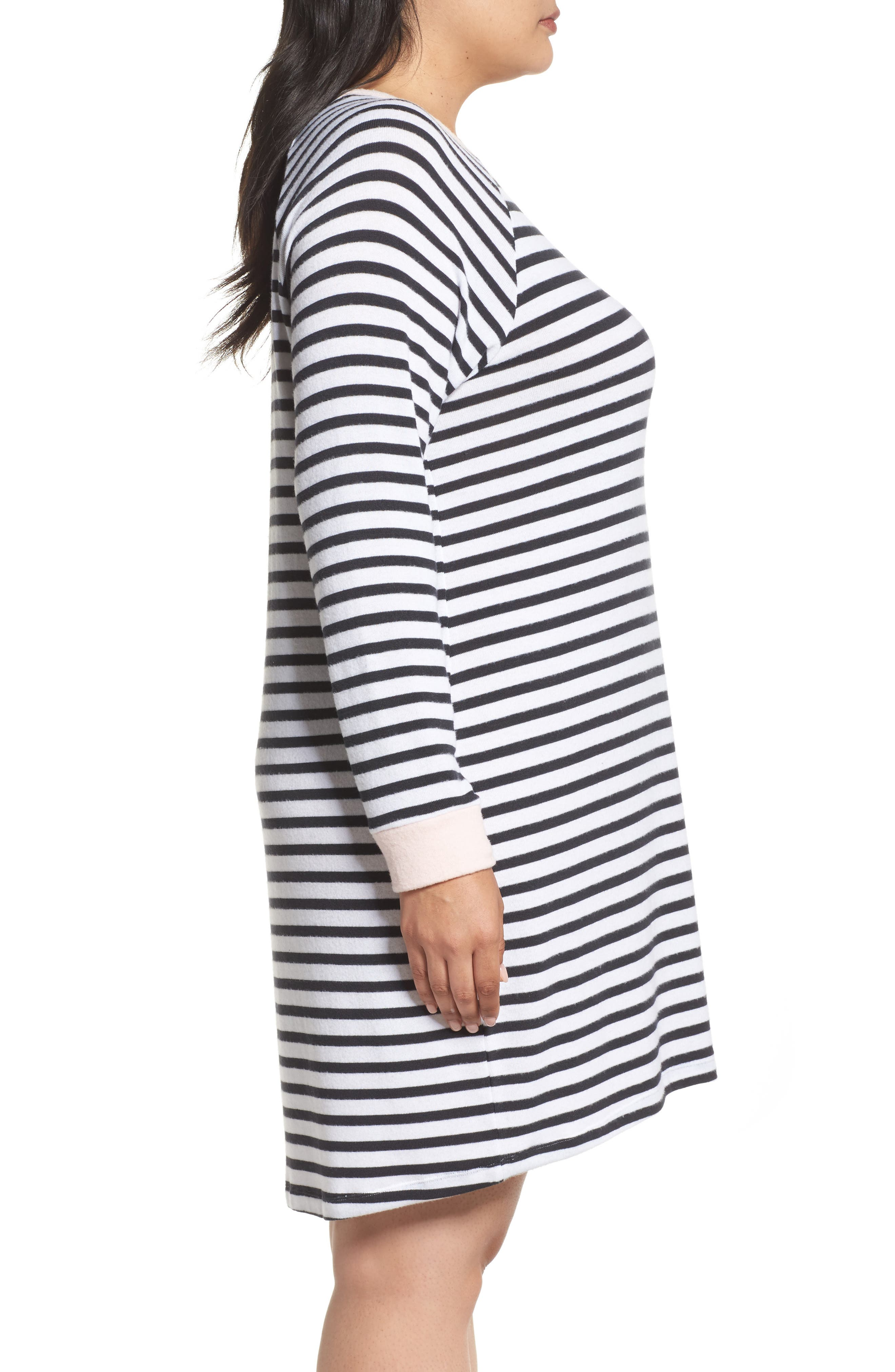 Stripe Peachy Jersey Nightshirt,                             Alternate thumbnail 3, color,                             900