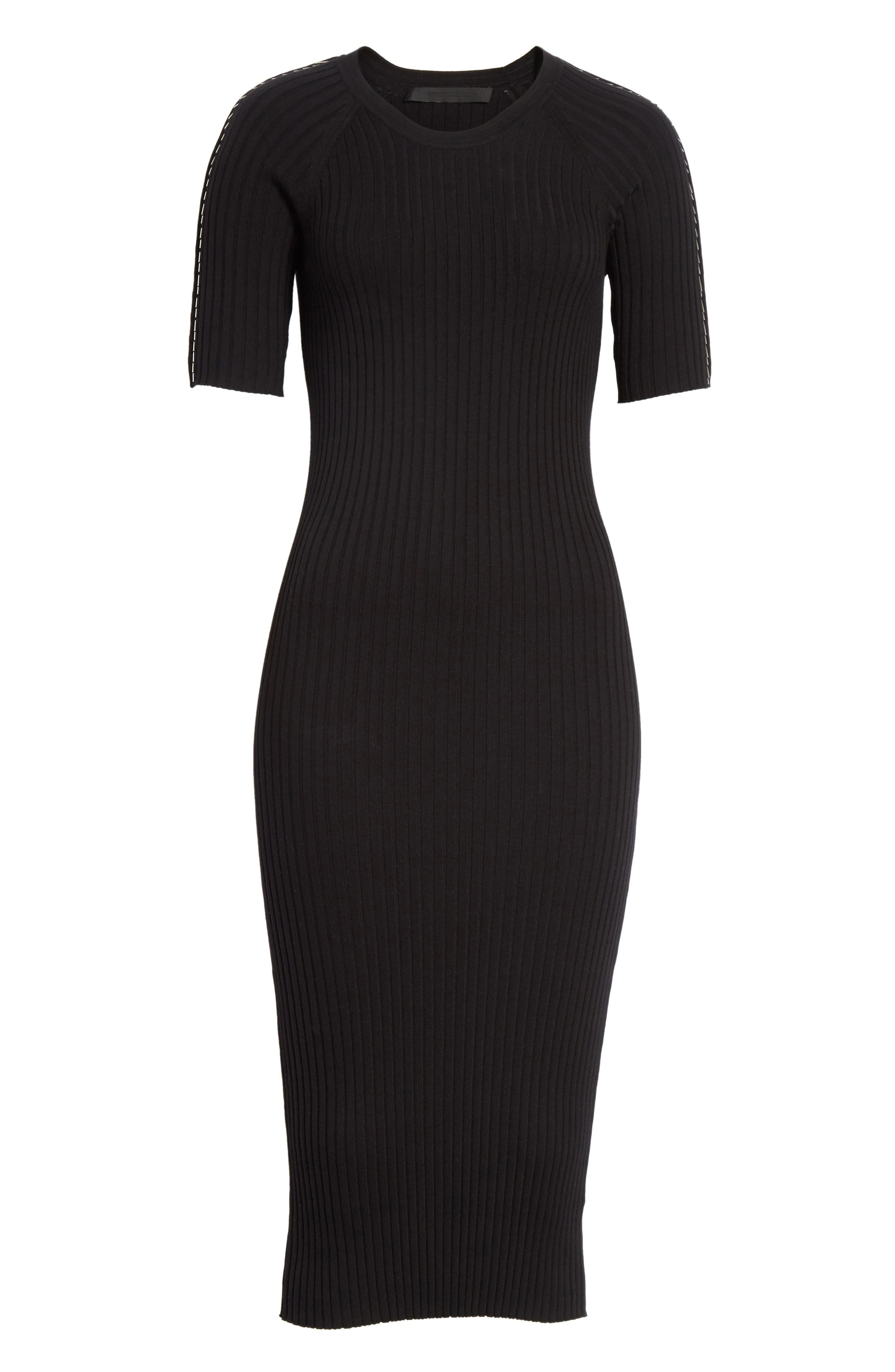 Pin Pierce Ribbed Body-Con Dress,                             Alternate thumbnail 6, color,