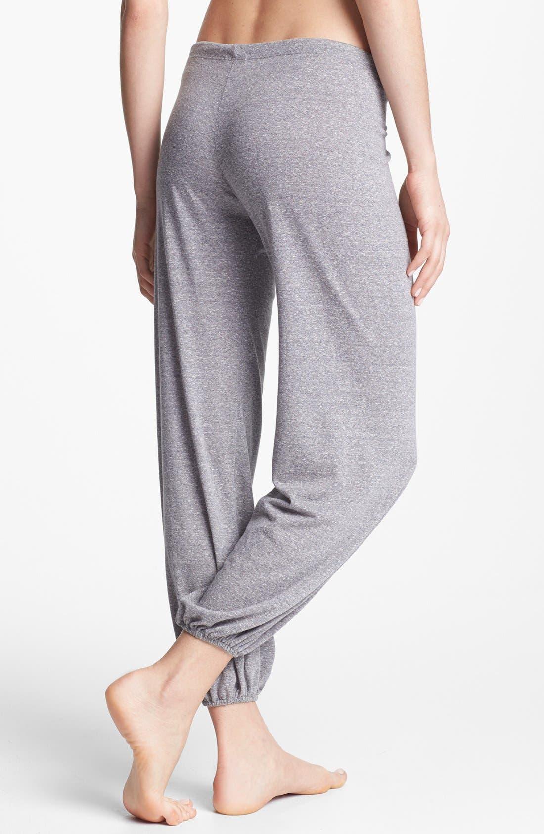 Crop Knit Lounge Pants,                             Alternate thumbnail 3, color,                             GREY HEATHER