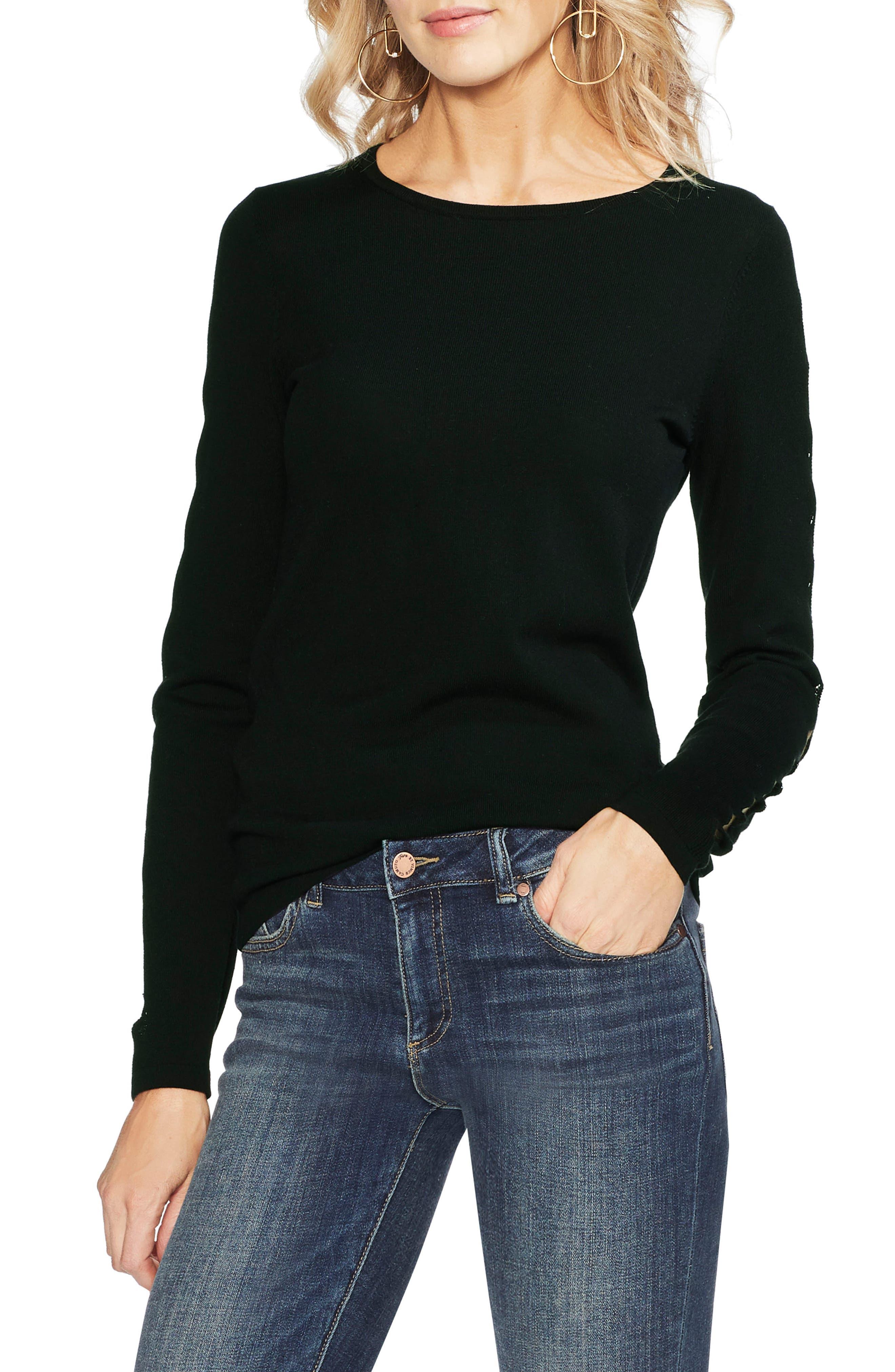 Vince Camuto Cutout Sleeve Sweater, Black