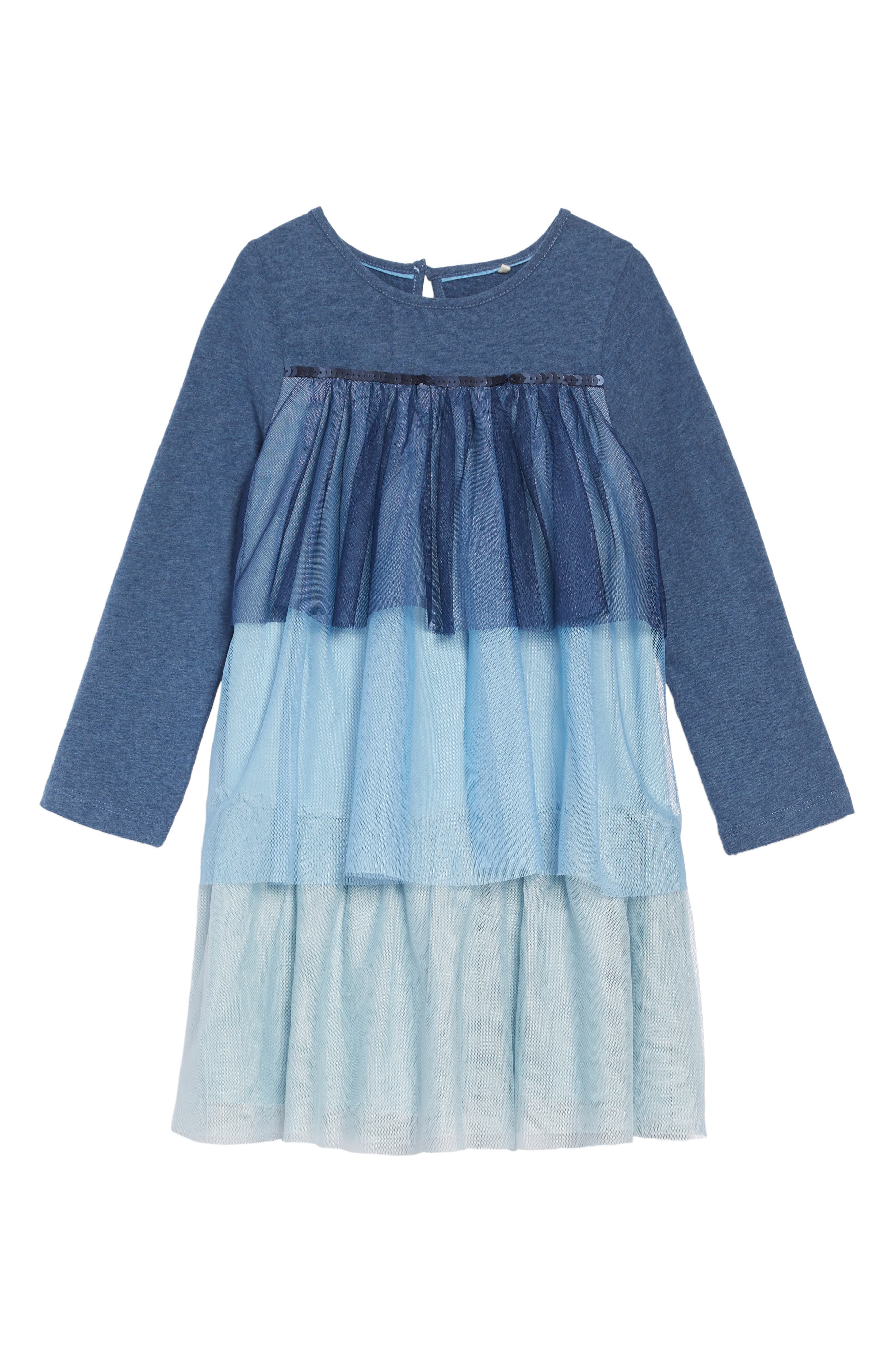 Jersey & Tulle Dress,                         Main,                         color, SCHOOL NAVY OMBRE