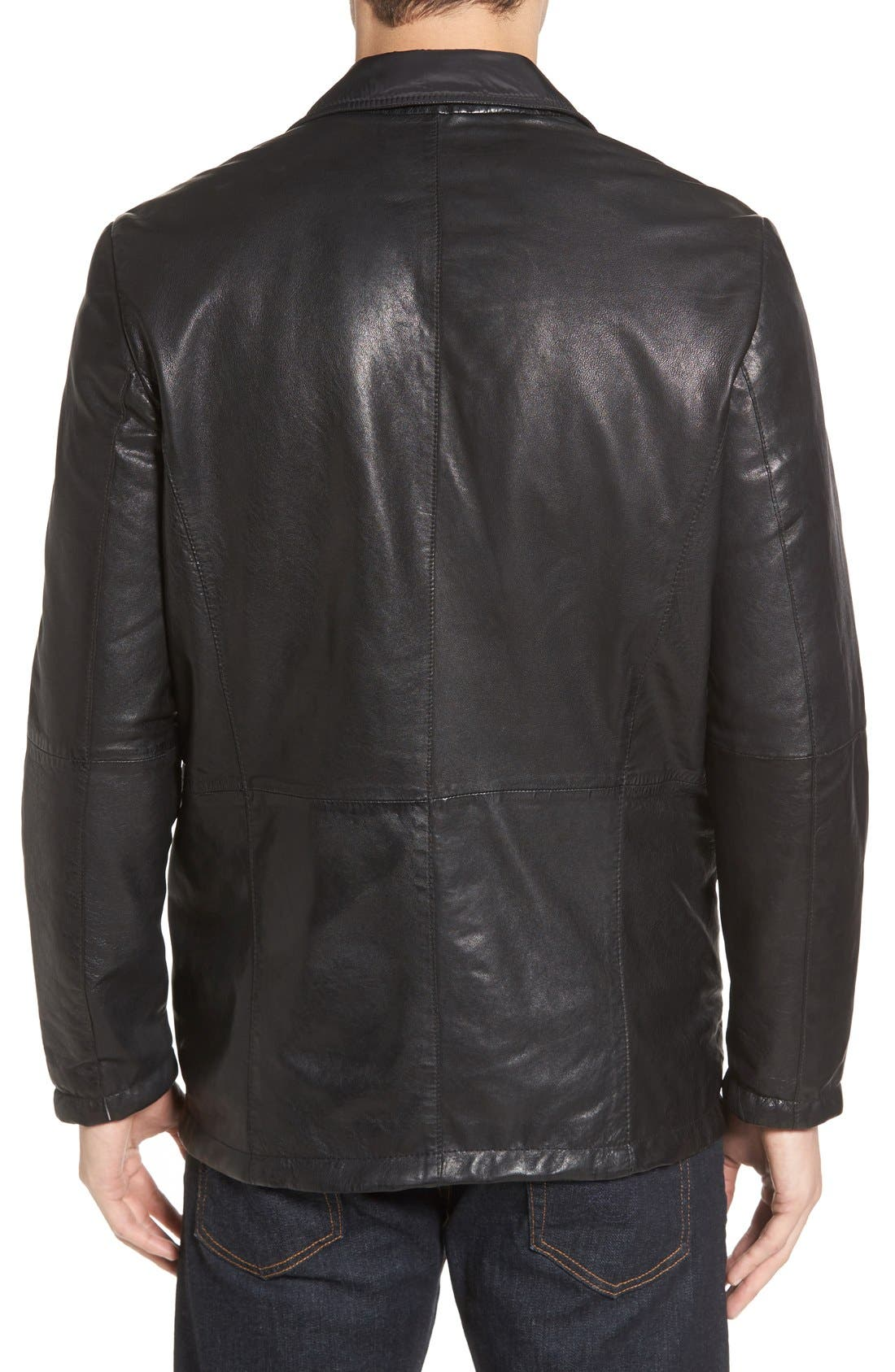 Reversible Leather & Nylon Sport Coat,                             Alternate thumbnail 2, color,                             001