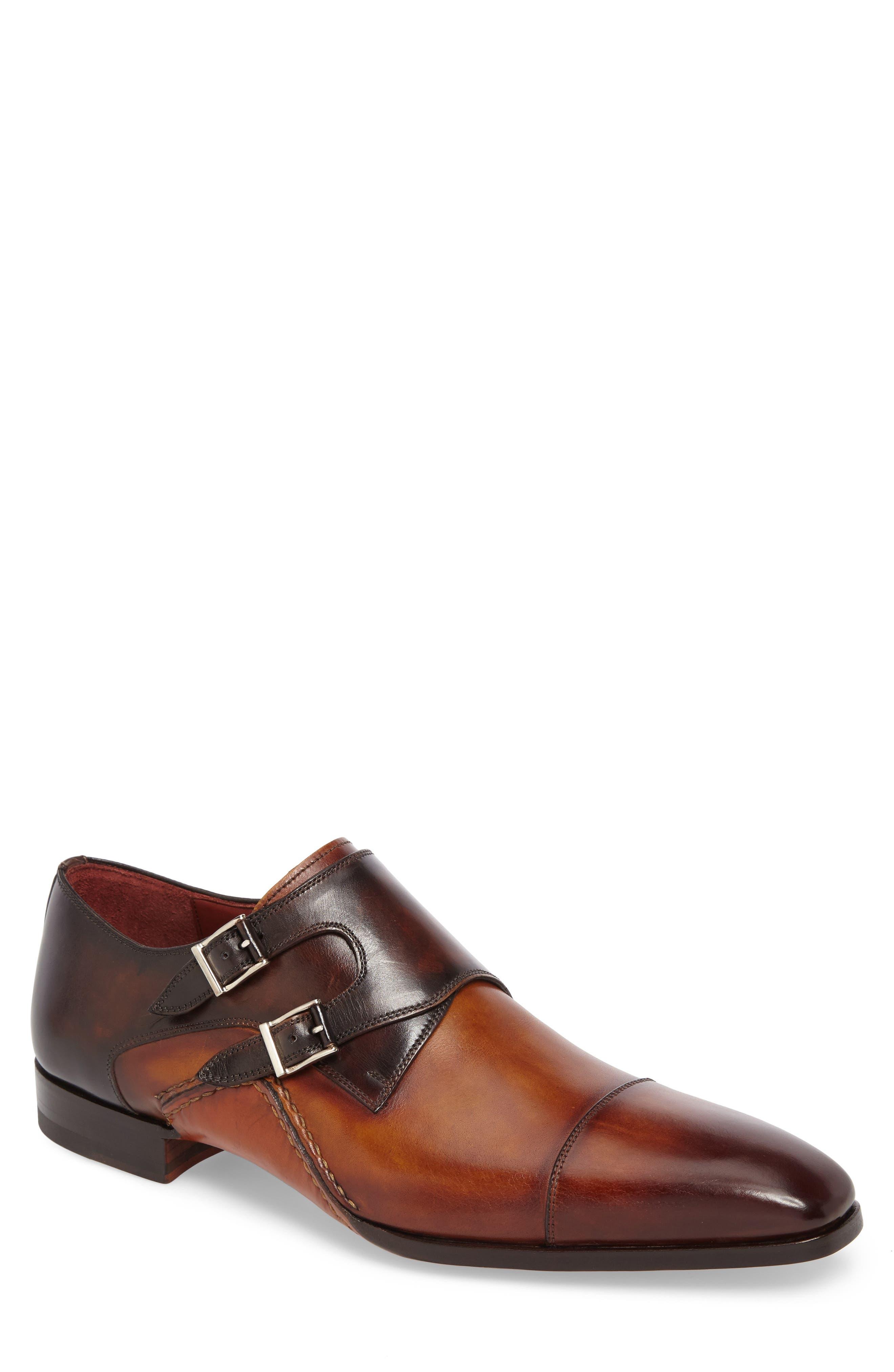 MAGNANNI,                             Ondara Double Monk Strap Shoe,                             Main thumbnail 1, color,                             CUERO/ BROWN LEATHER