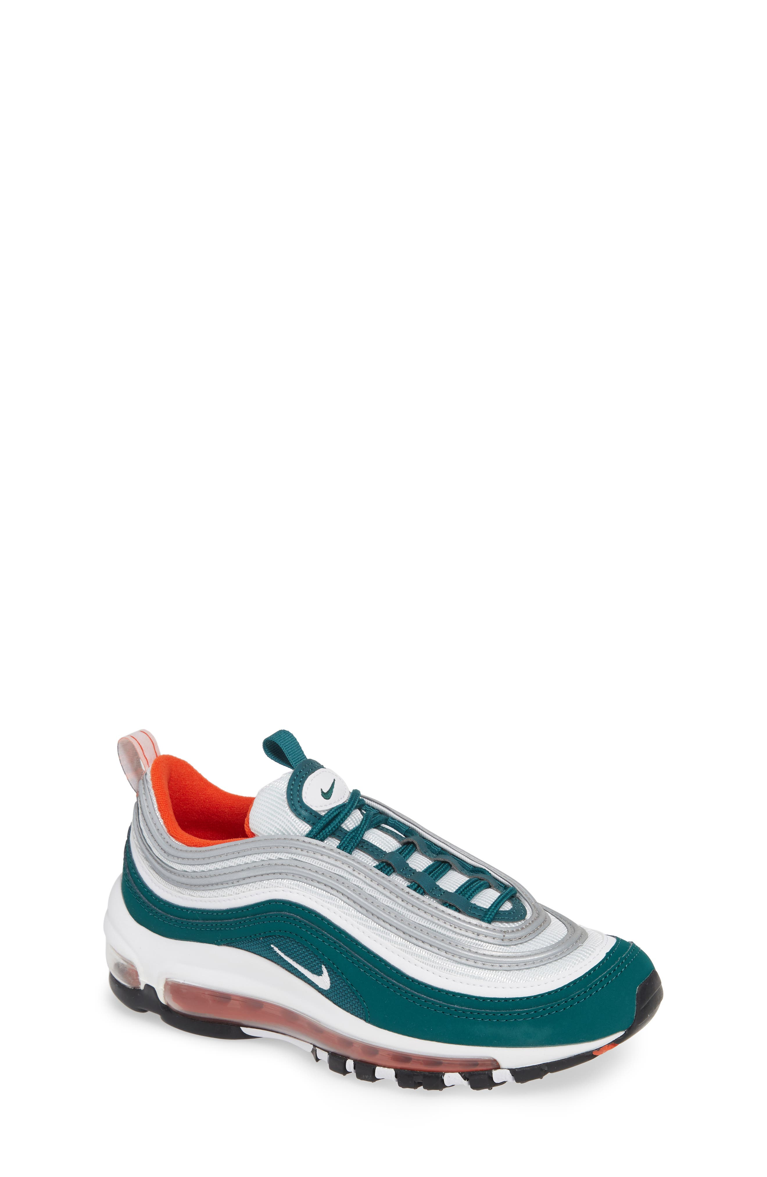 NIKE Air Max 97 Sneaker, Main, color, RAINFOREST/ WHITE/ ORANGE