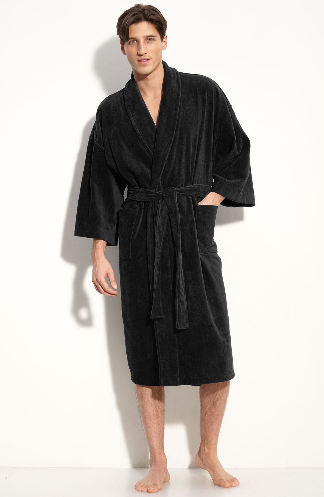 Terry Velour Robe,                             Main thumbnail 1, color,                             BLACK