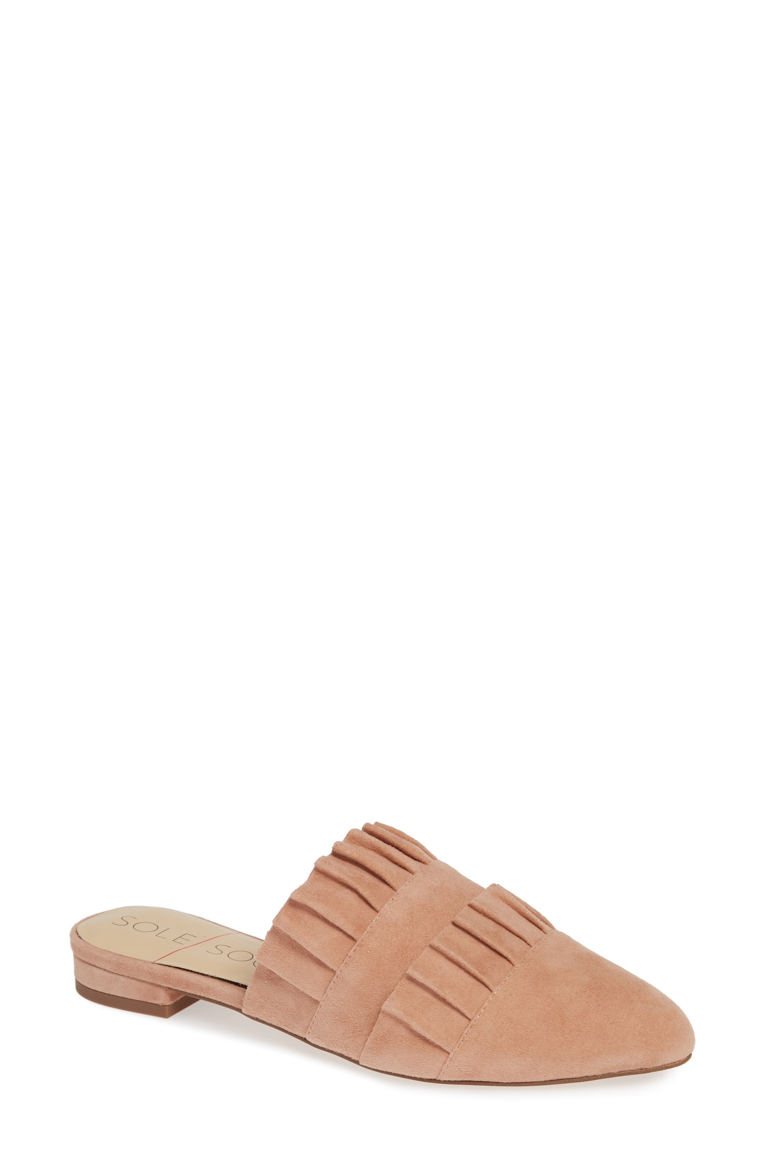 Pollina Mule,                             Main thumbnail 1, color,                             AGED ROSE SUEDE