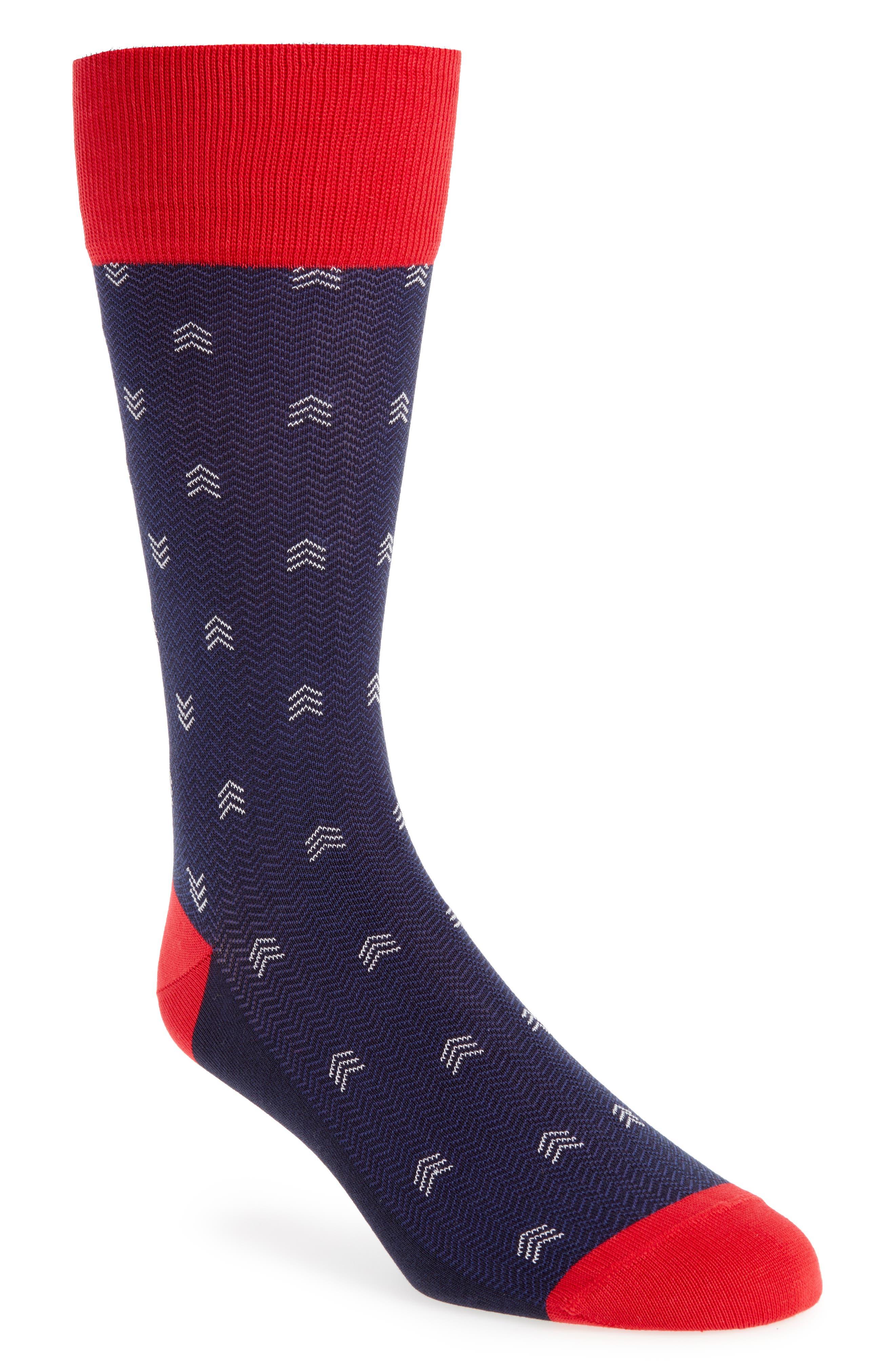 Dancing Chevron Socks,                             Main thumbnail 1, color,                             NAVY/ RED