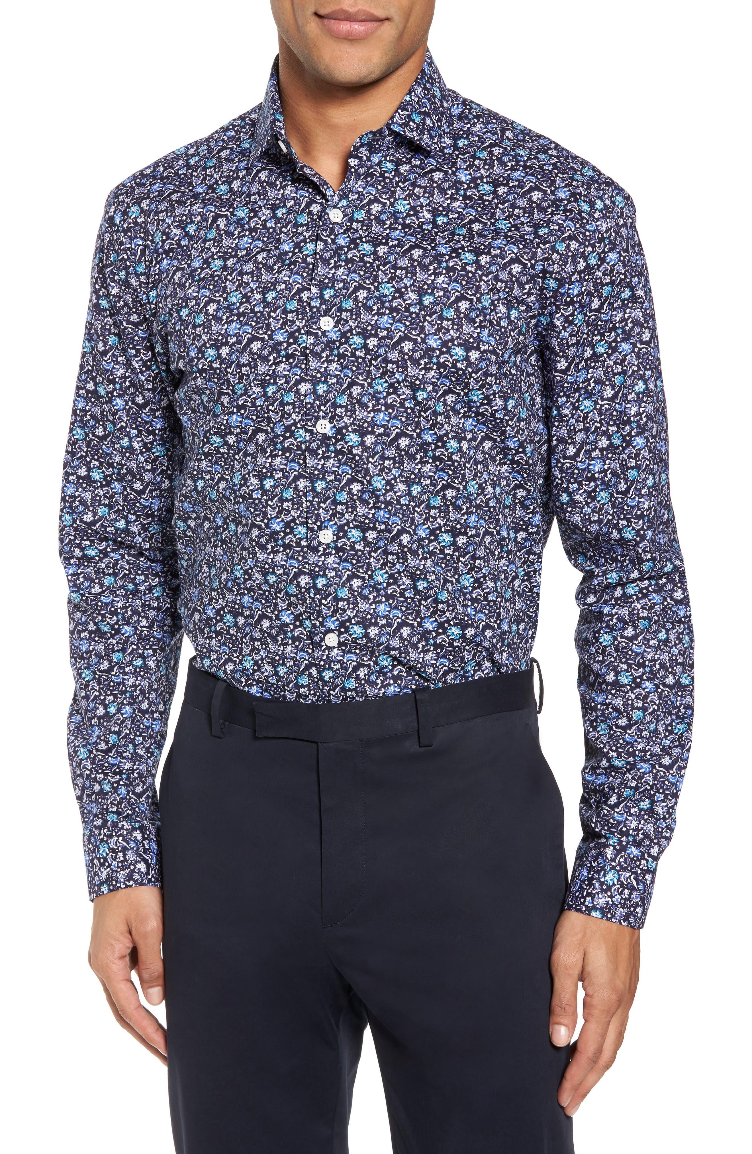 Trim Fit Floral Dress Shirt,                             Main thumbnail 1, color,                             NAVY