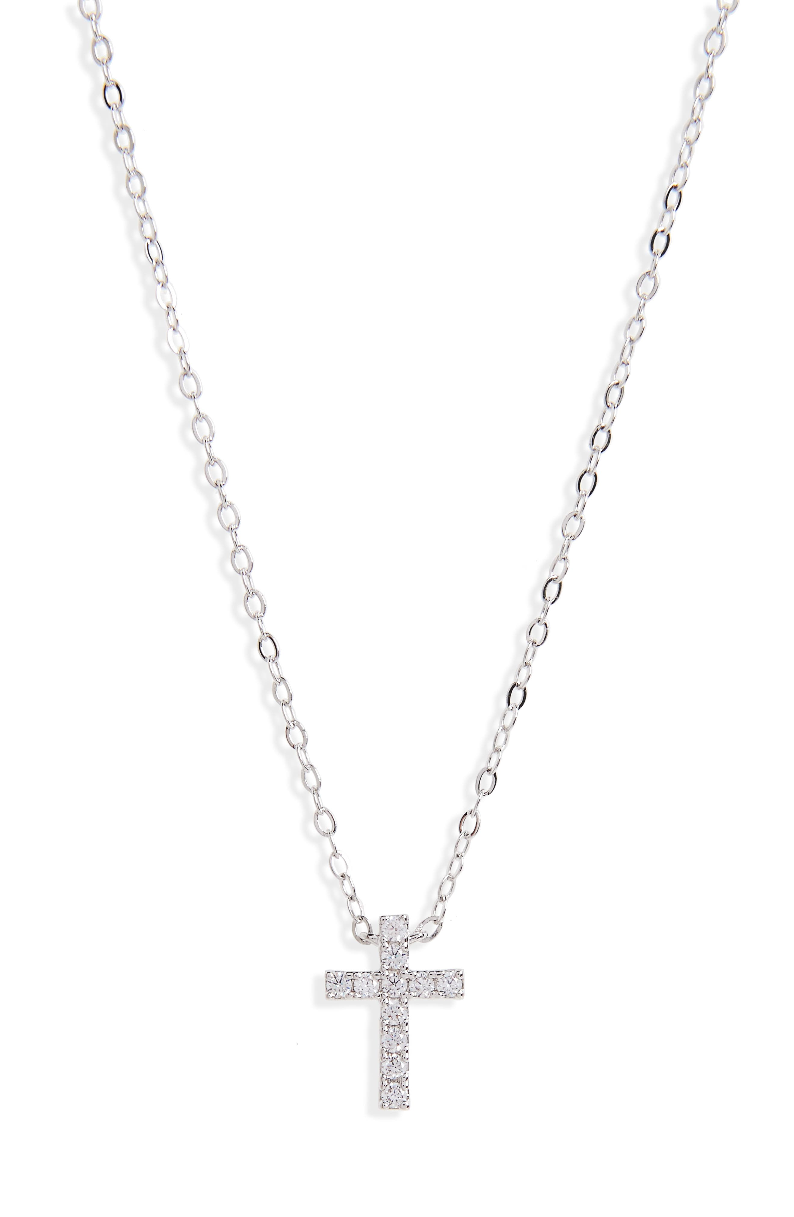 Cross Necklace,                         Main,                         color, RHODIUM