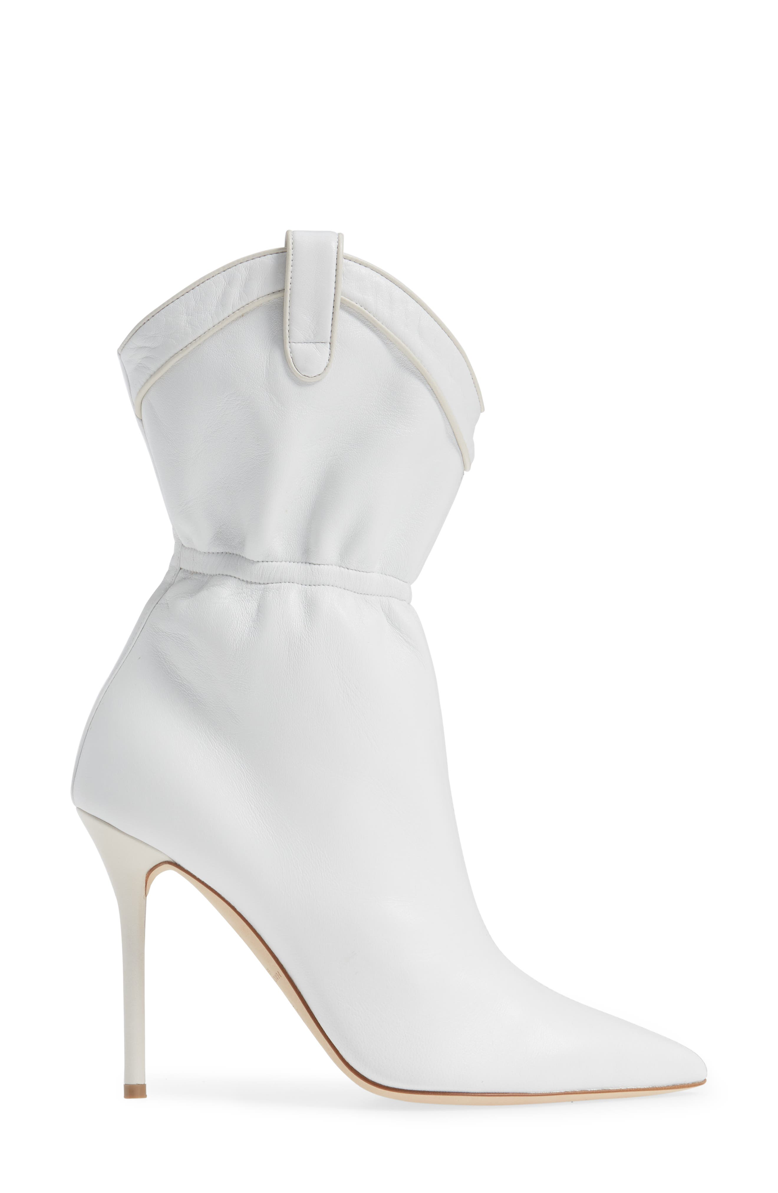 MALONE SOULIERS,                             Daisy Cinched Bootie,                             Alternate thumbnail 3, color,                             WHITE LEATHER