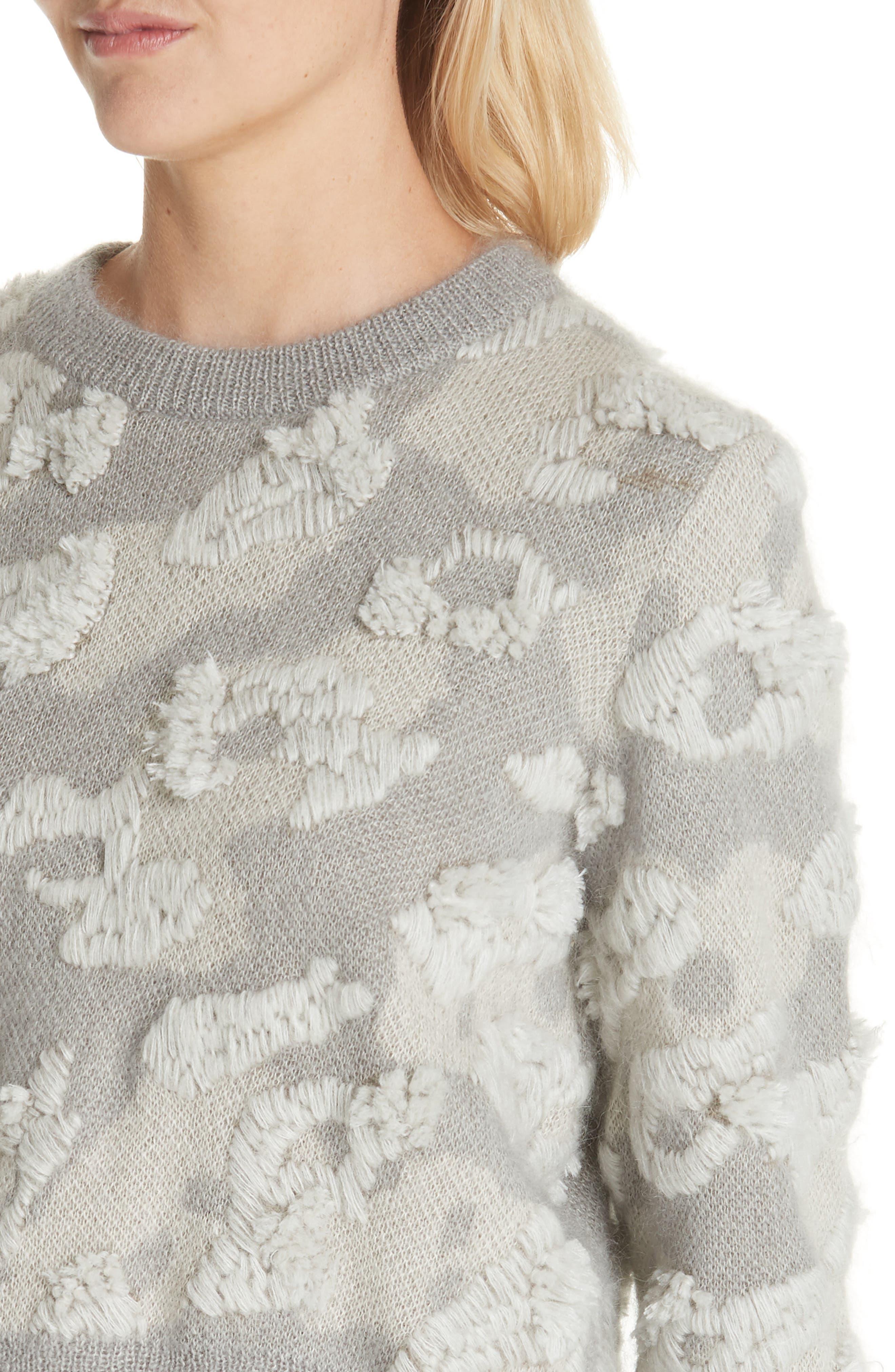 RAG & BONE,                             Embroidered Leopard Spot Sweater,                             Alternate thumbnail 4, color,                             900