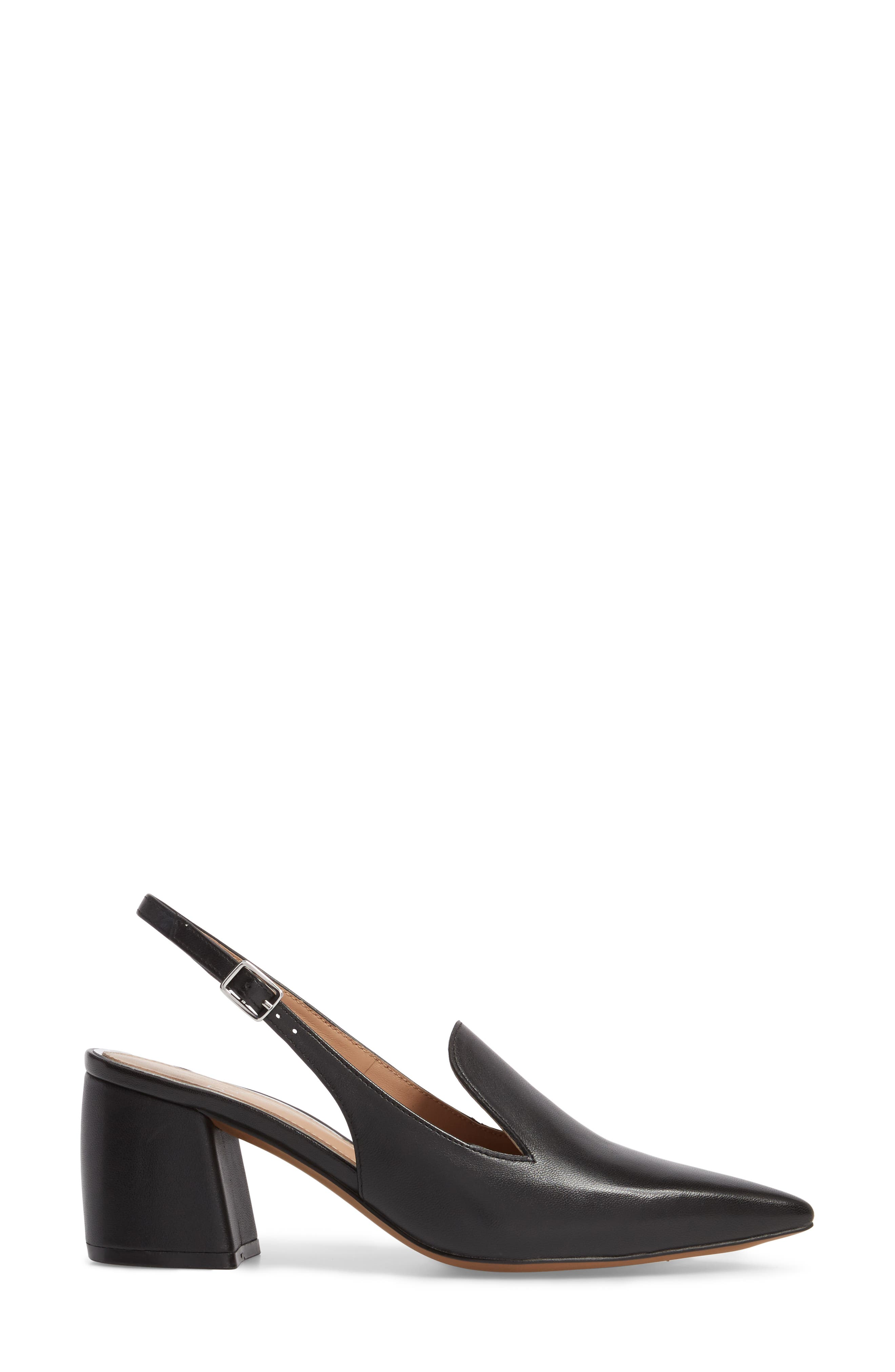 Carly Slingback Pump,                             Alternate thumbnail 3, color,                             BLACK LEATHER