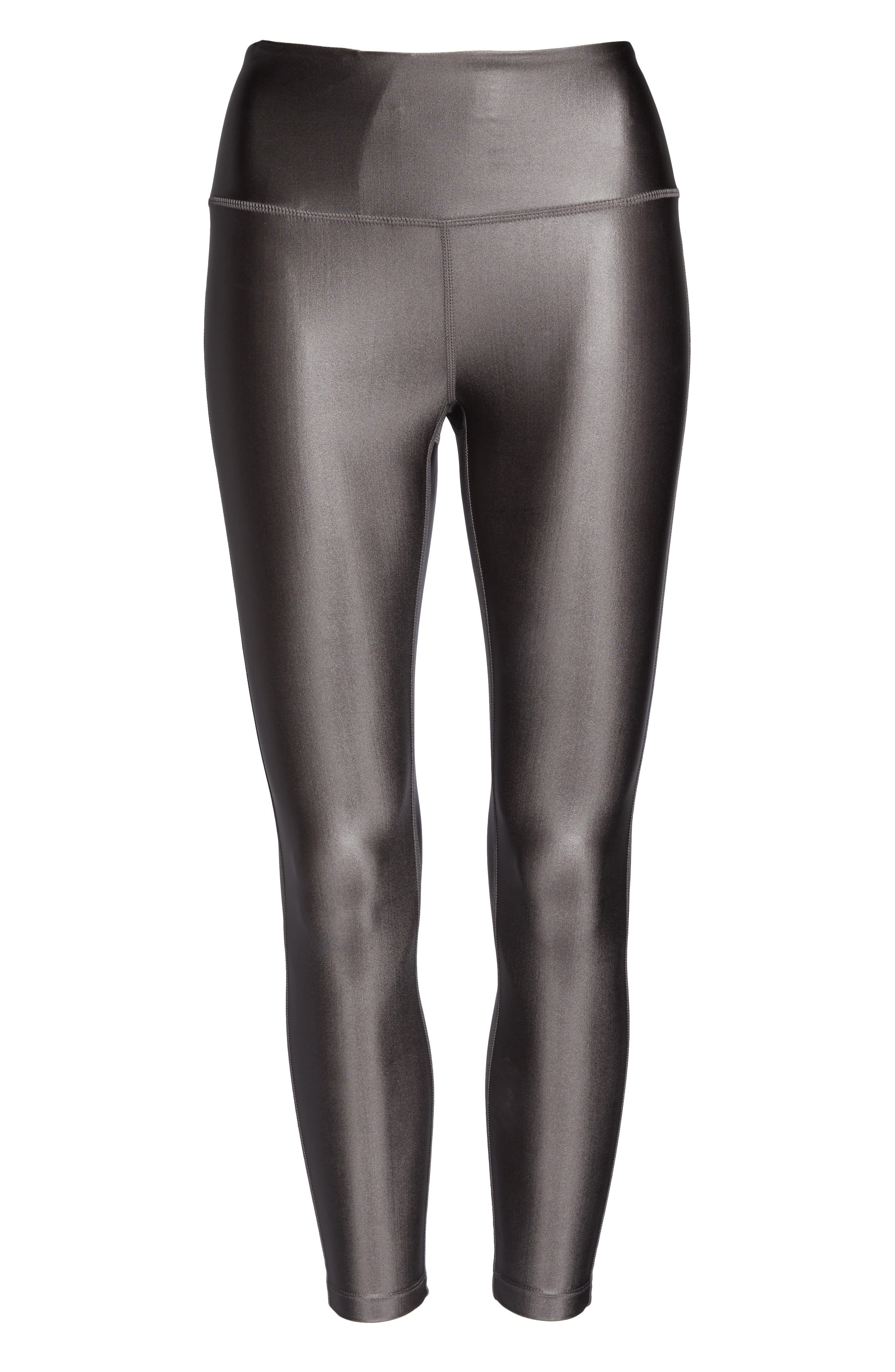 High Waist Shine Midi Leggings,                             Alternate thumbnail 7, color,                             GREY KITTEN