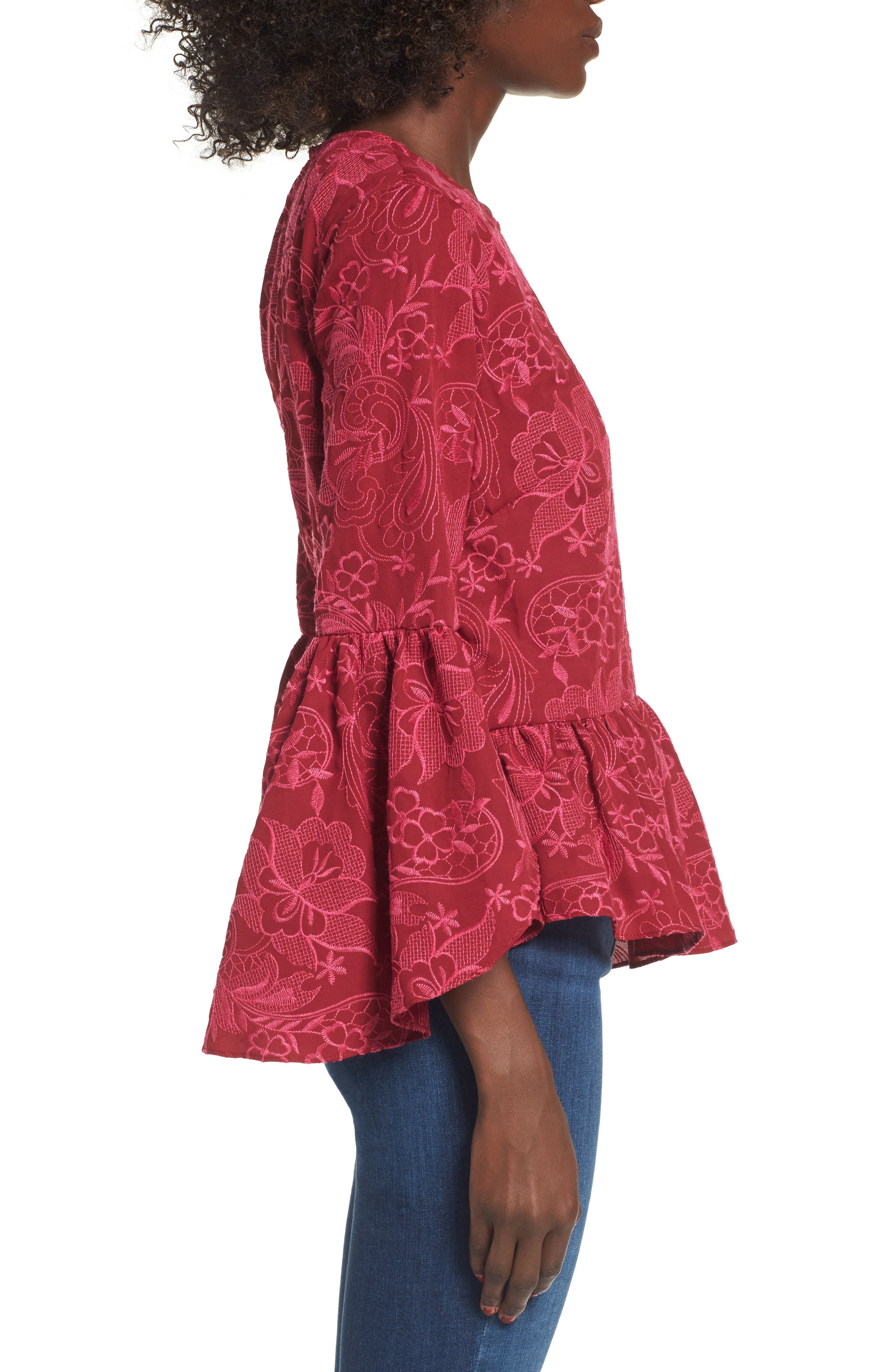 Helena Lace Bell Sleeve Top,                             Alternate thumbnail 3, color,                             400