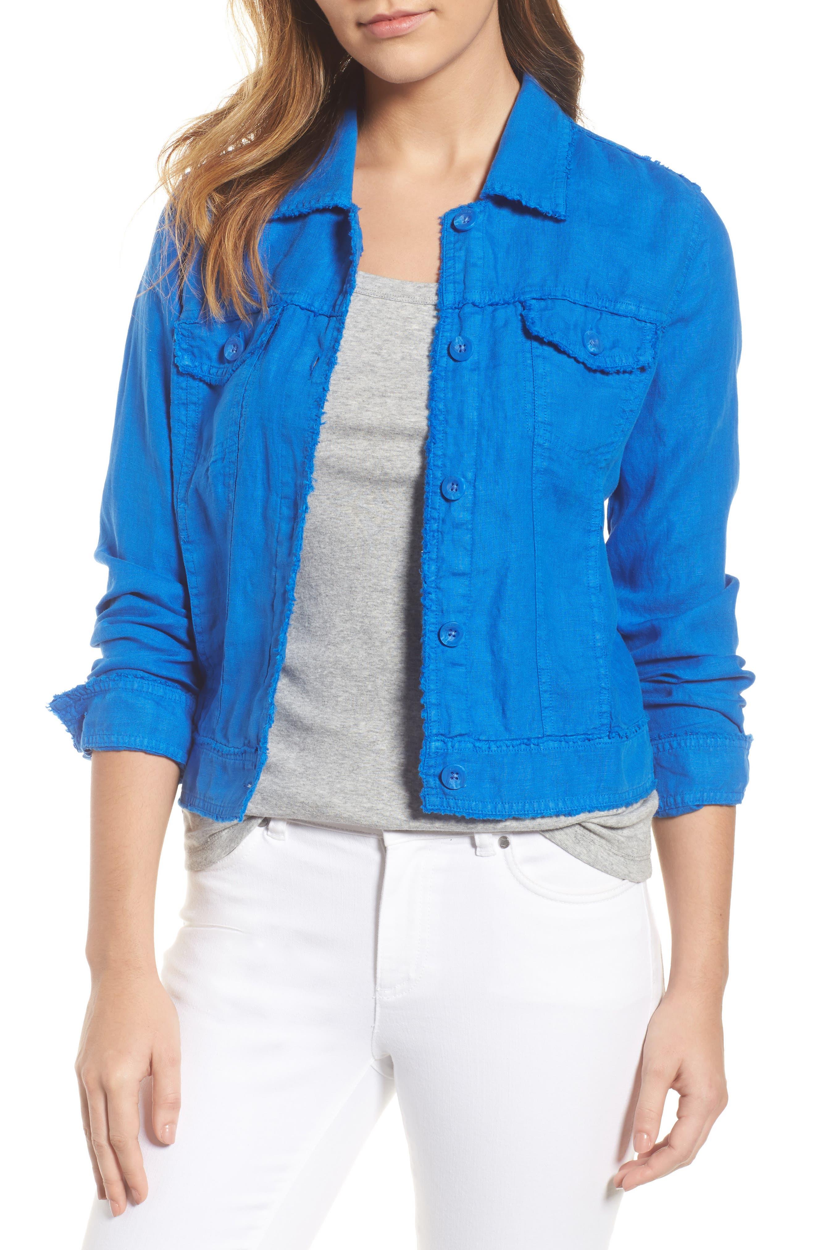 'Two Palms' Linen Raw Edge Jacket,                         Main,                         color, COBALT
