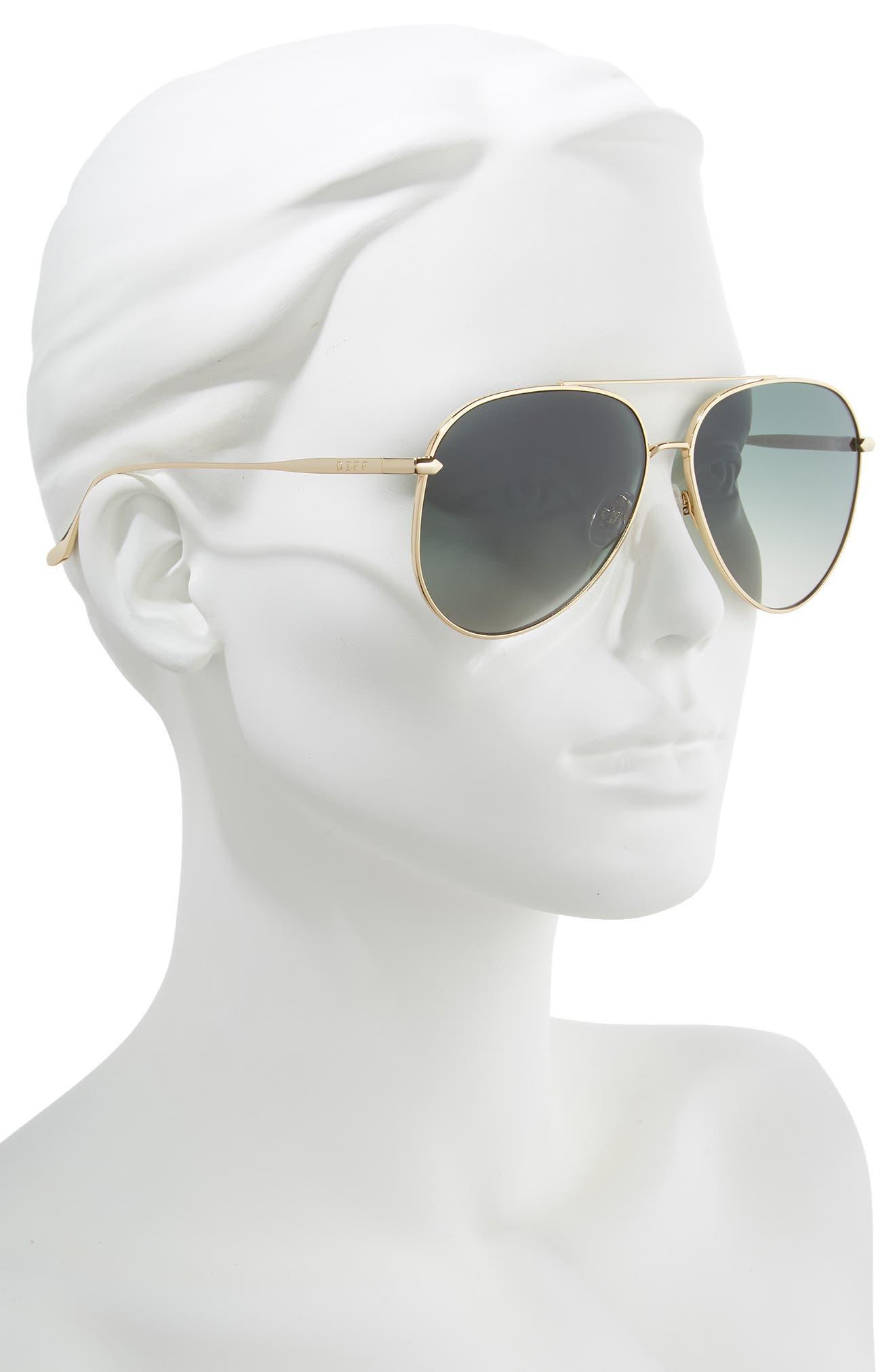 Nala 63mm Oversize Polarized Aviator Sunglasses,                             Alternate thumbnail 2, color,                             GOLD/ G15