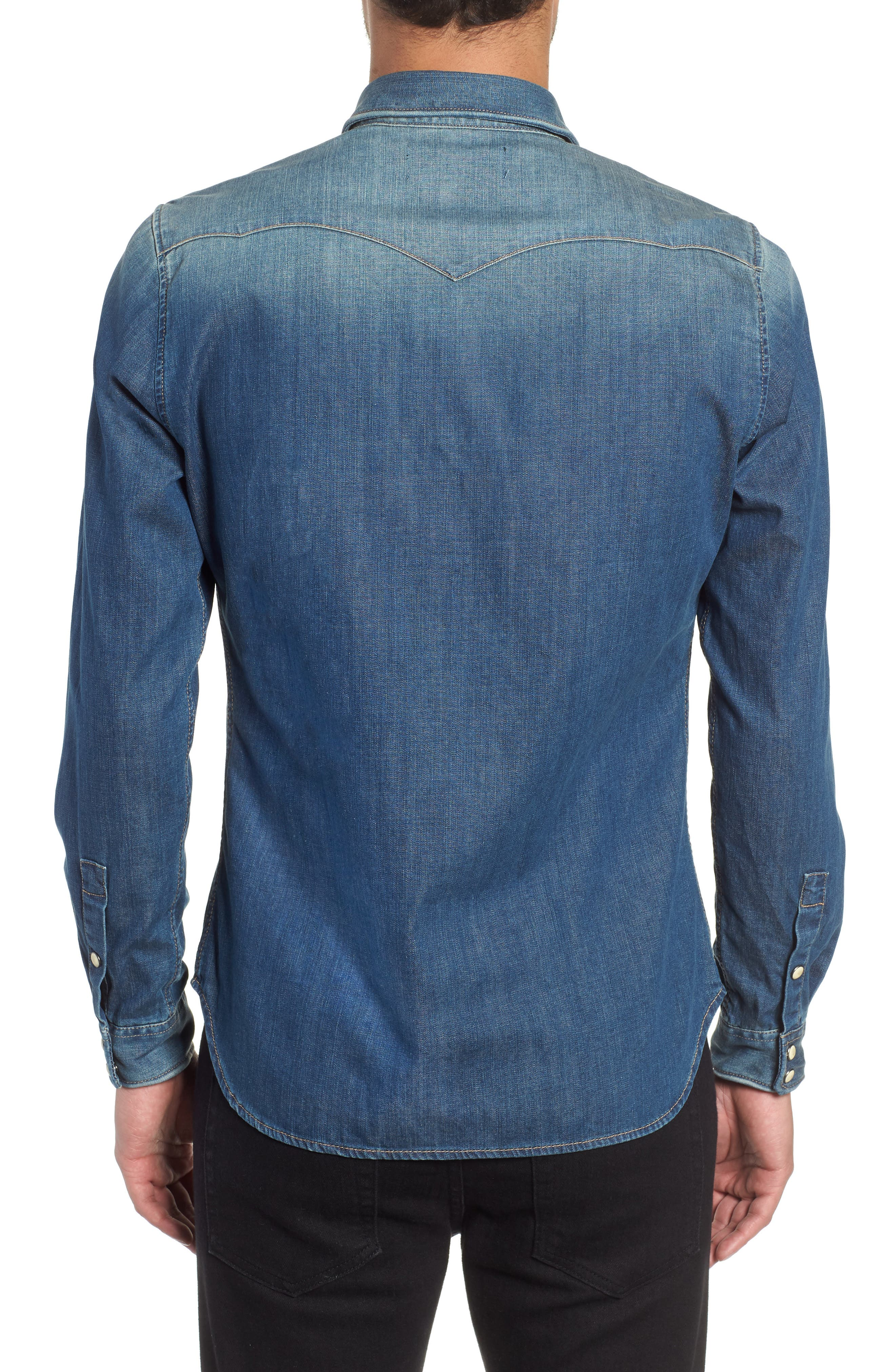 THE KOOPLES,                             Trim Fit Washed Denim Western Shirt,                             Alternate thumbnail 3, color,                             400