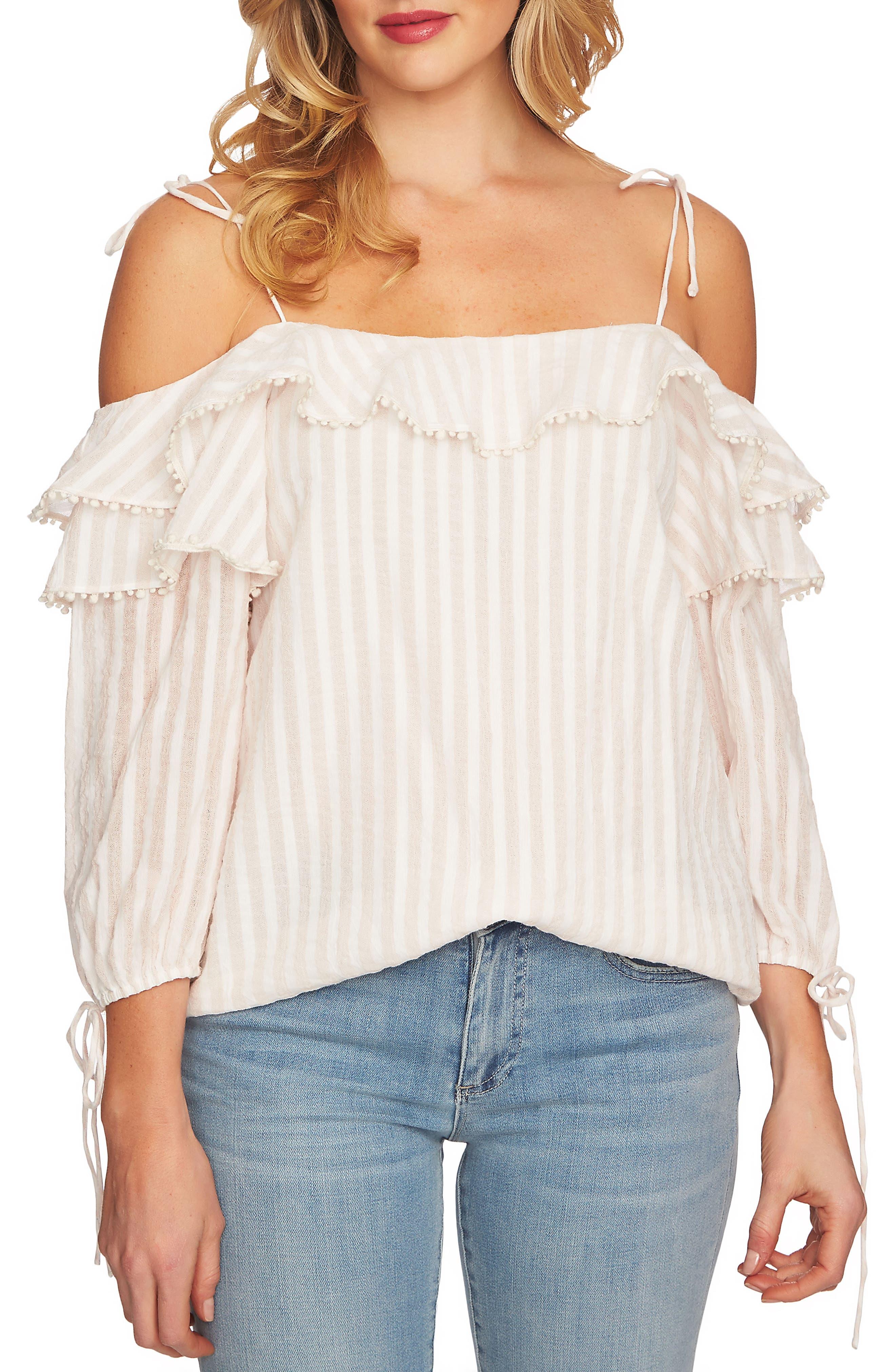 Cold Shoulder Stripe Pompom Blouse,                         Main,                         color, 651