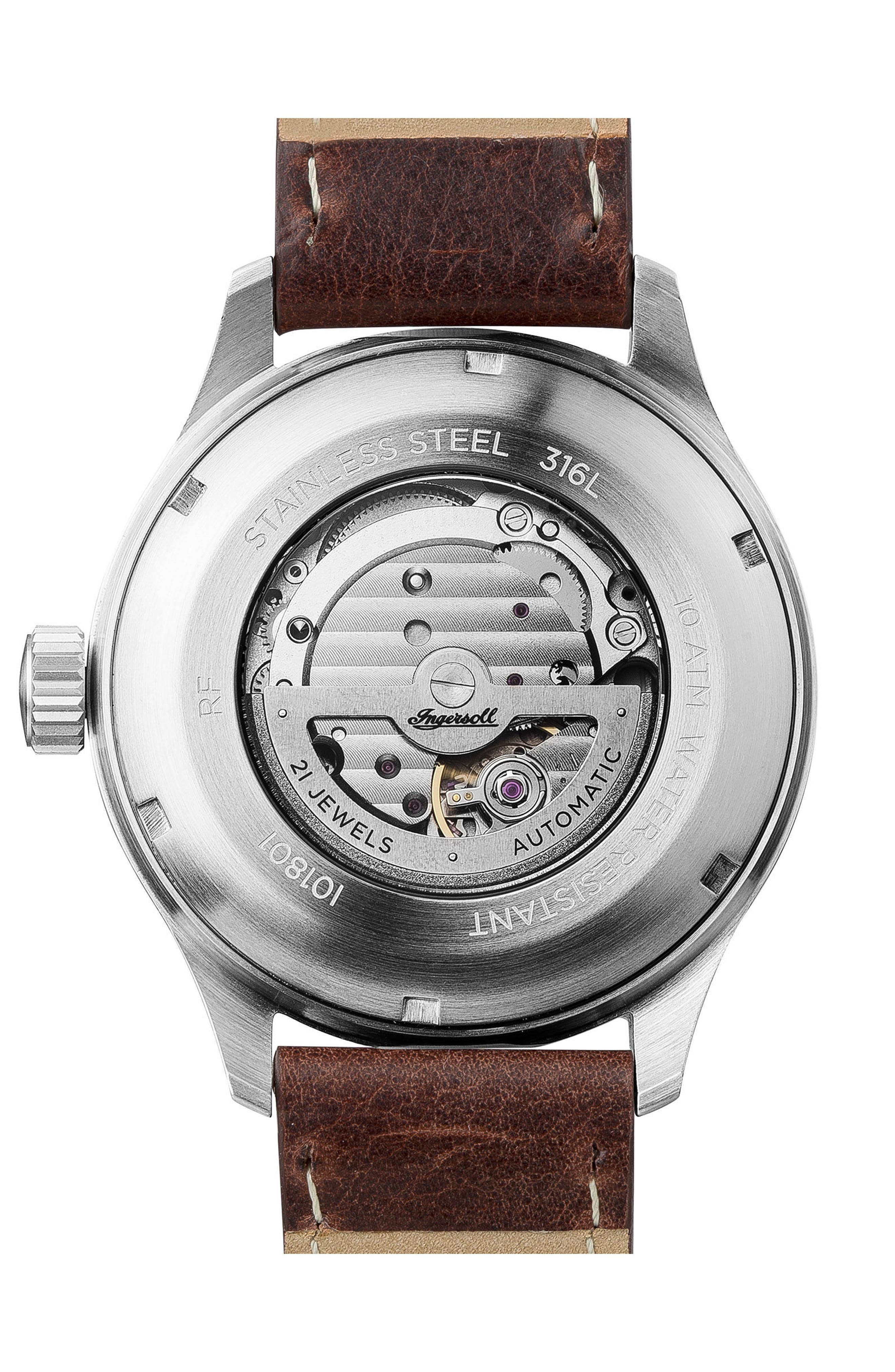 Ingersoll Bateman Automatic Leather Strap Watch, 45mm,                             Alternate thumbnail 2, color,                             BROWN/ WHITE/ SILVER