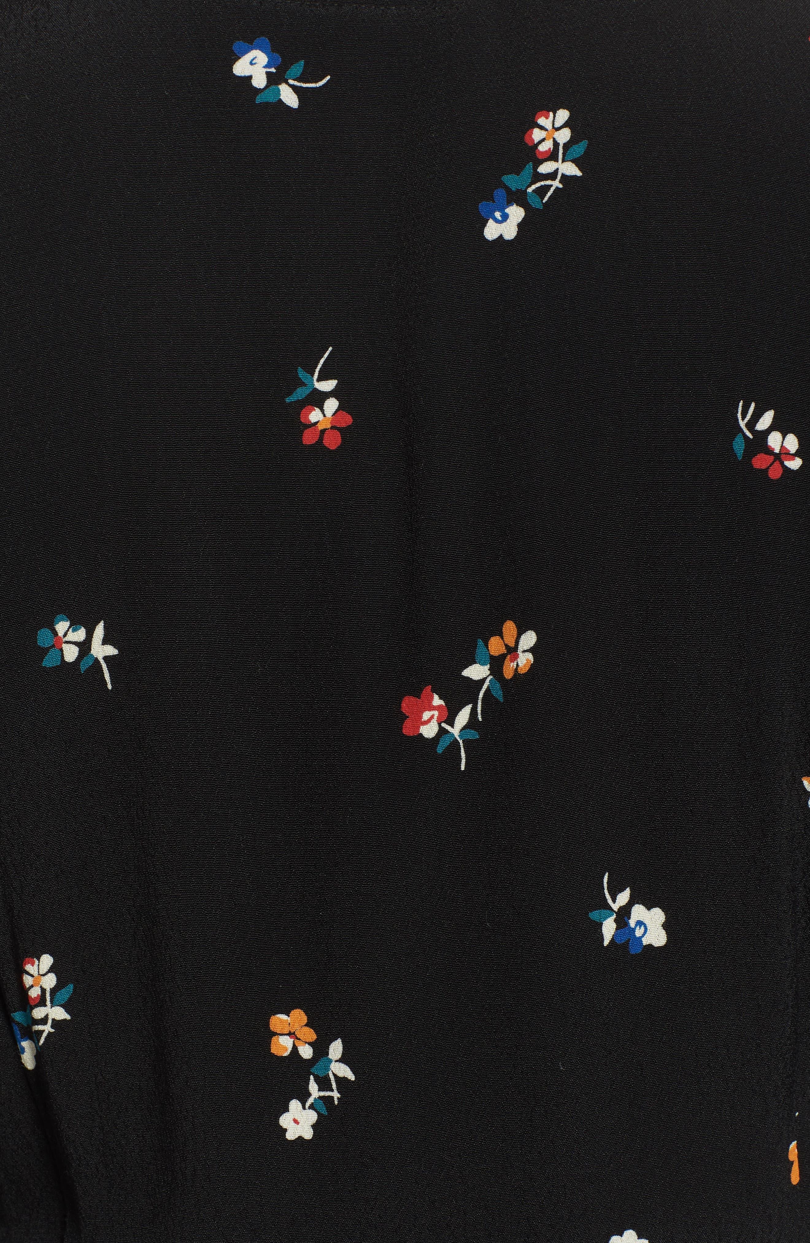 Aimee Ruffle Detail Wrap Dress,                             Alternate thumbnail 6, color,                             BLACK KYOTO FLORAL