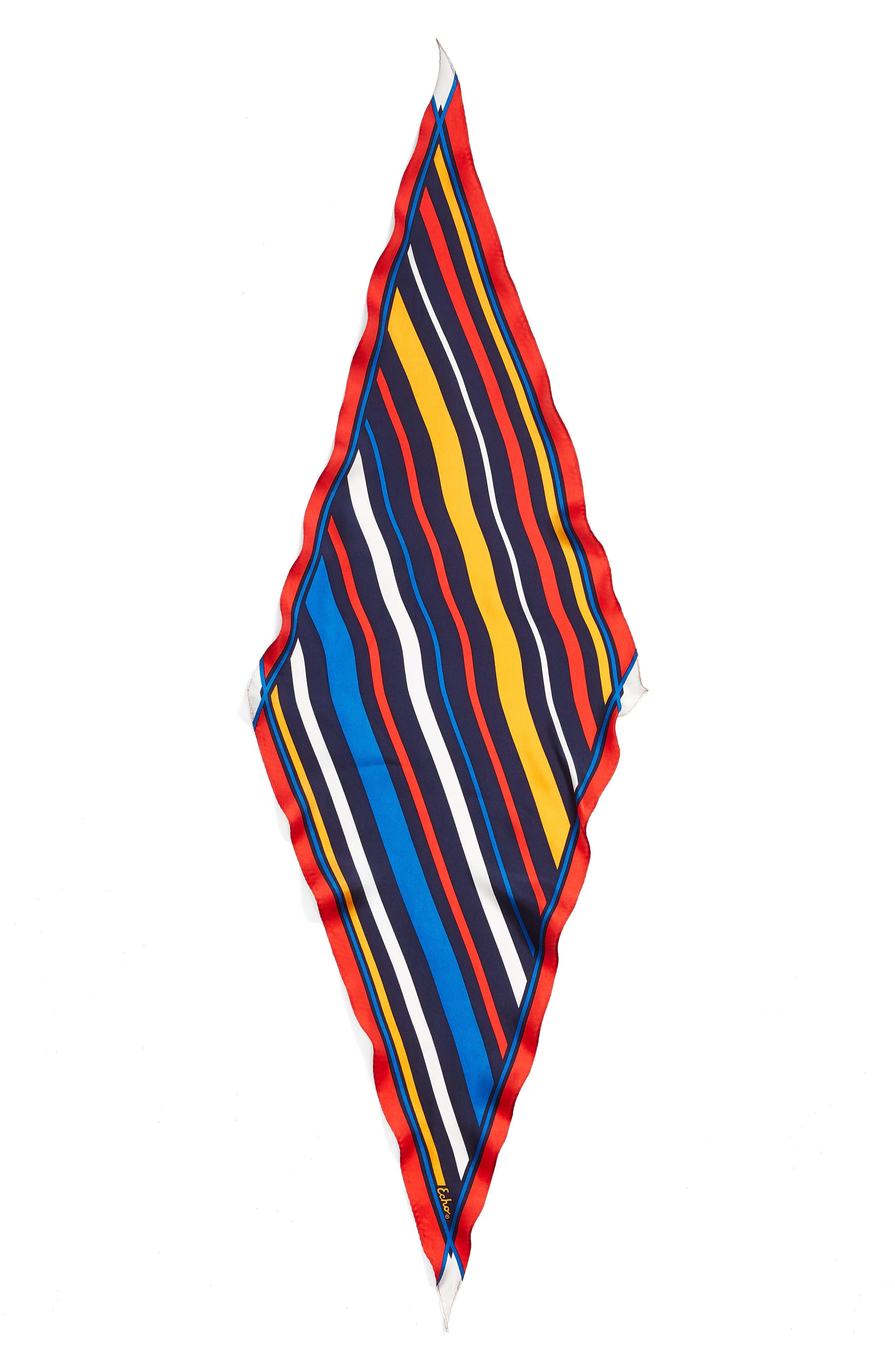 Cabana Stripe Diamond Silk Scarf,                             Alternate thumbnail 3, color,                             411