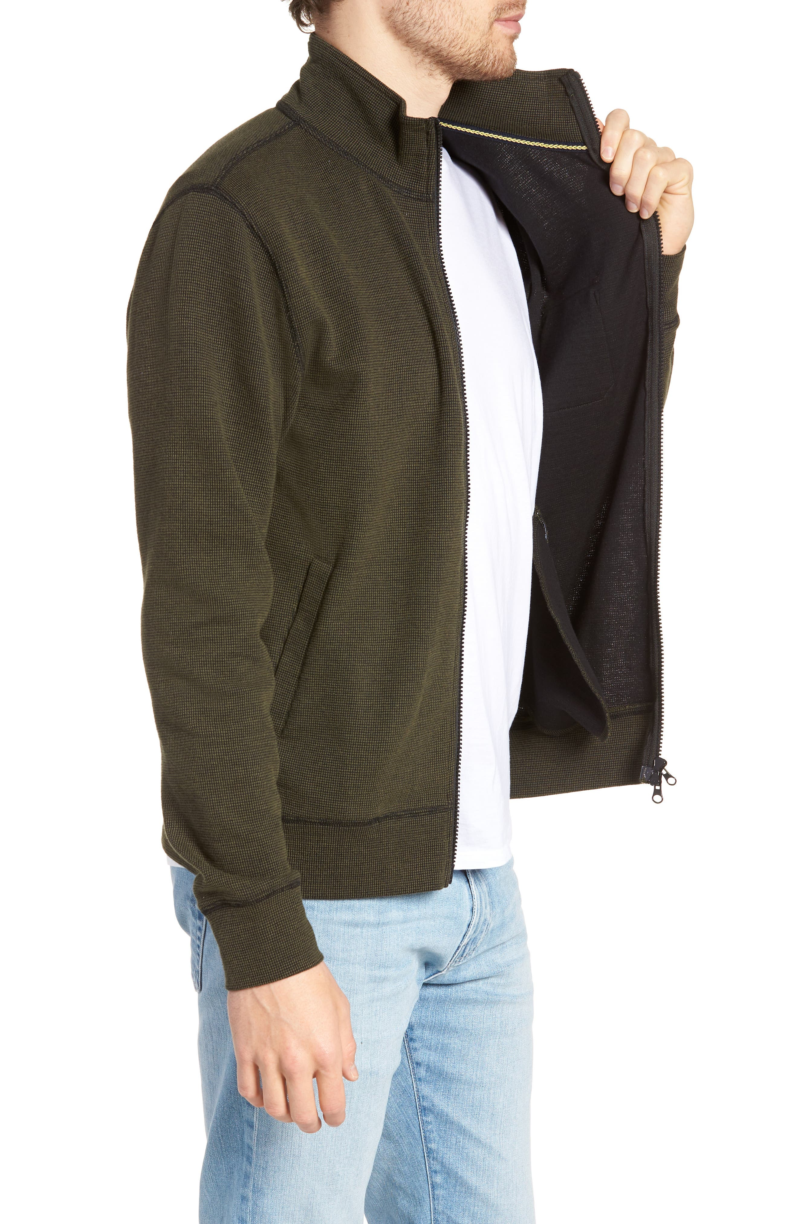 Regular Fit Cotton Cardigan,                             Alternate thumbnail 3, color,                             DARK OLIVE