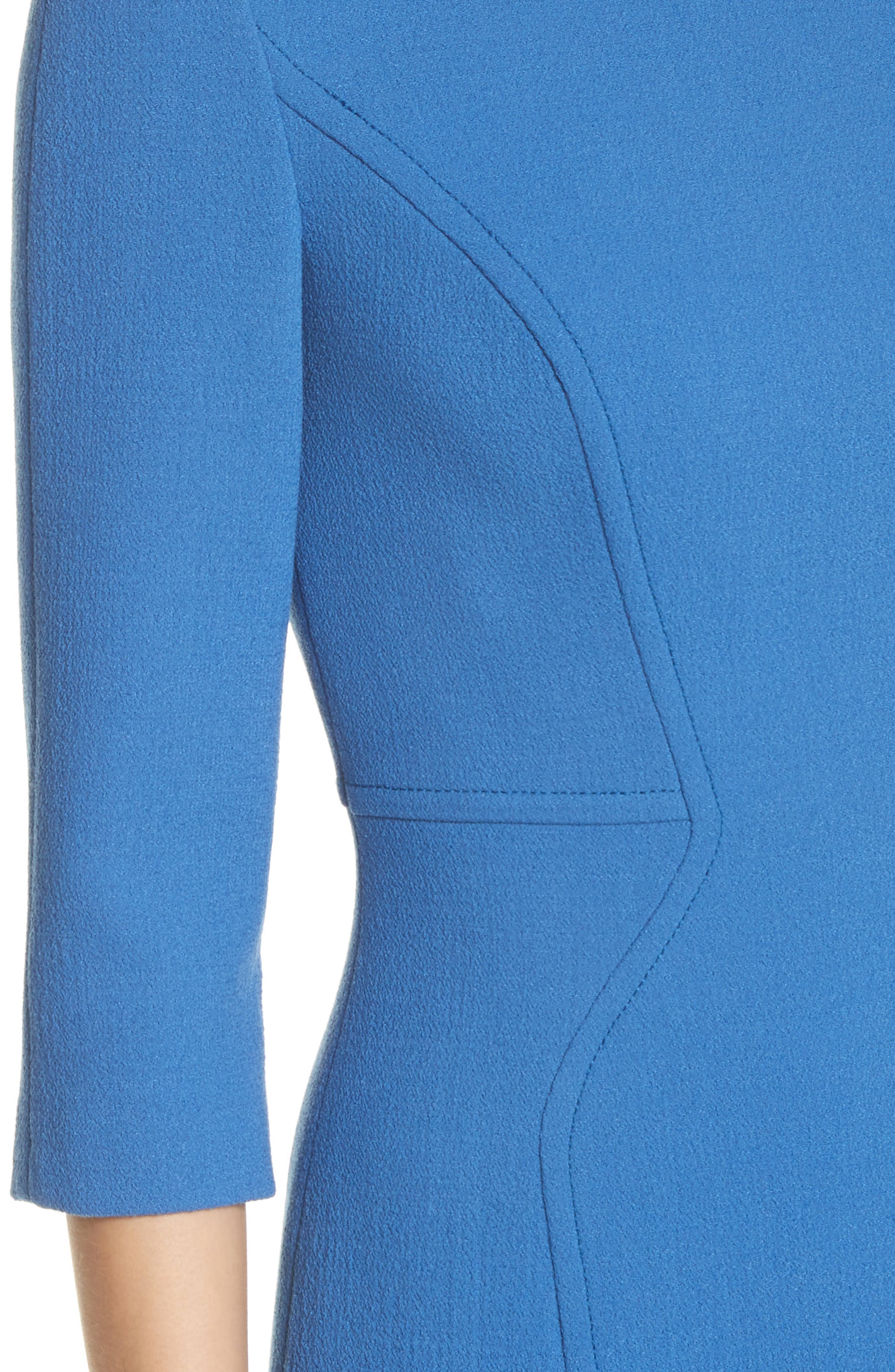 Stretch Wool Sheath Dress,                             Alternate thumbnail 4, color,
