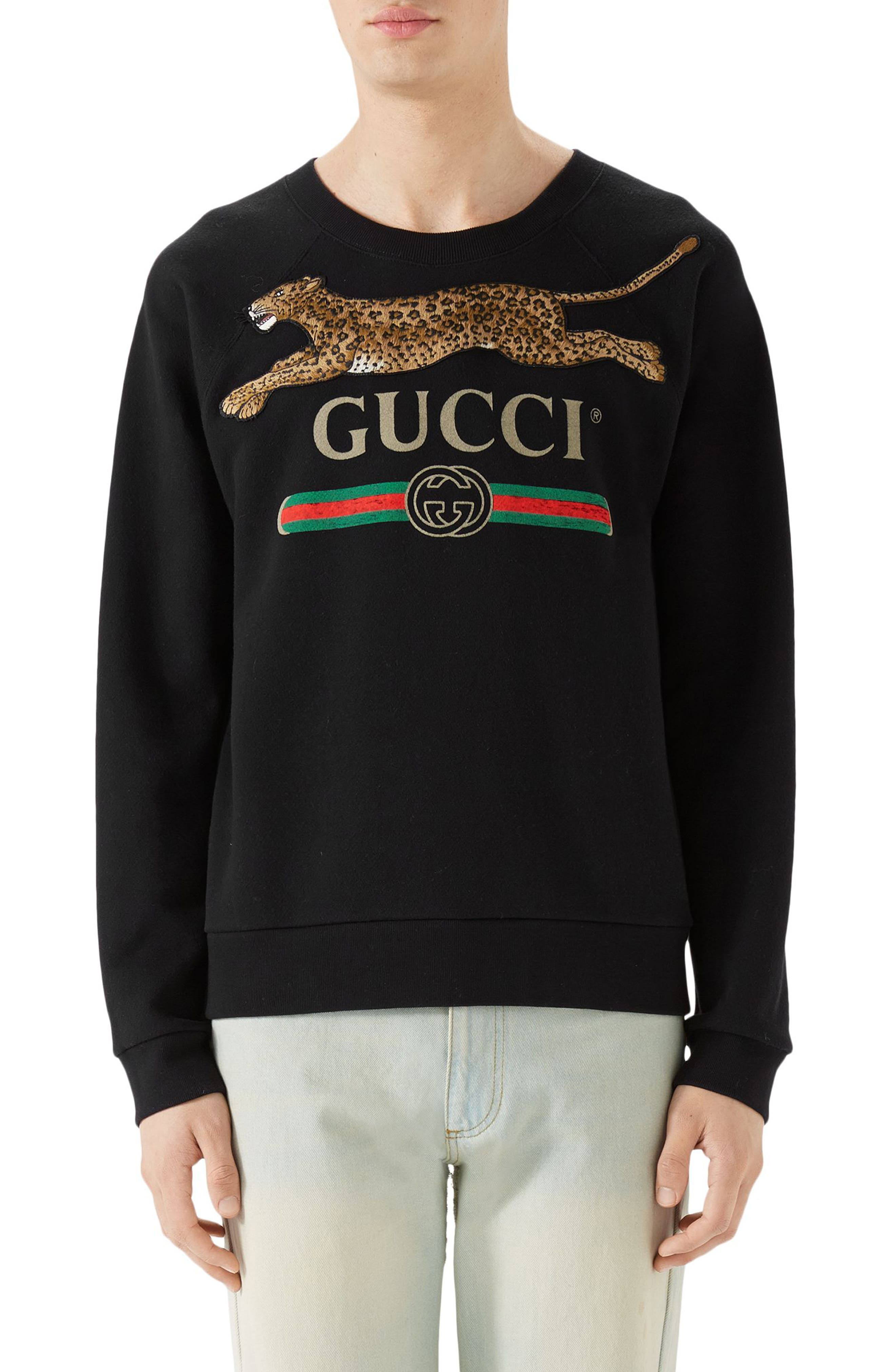 Cheetah Appliqué Logo Sweatshirt,                             Main thumbnail 1, color,                             BLACK