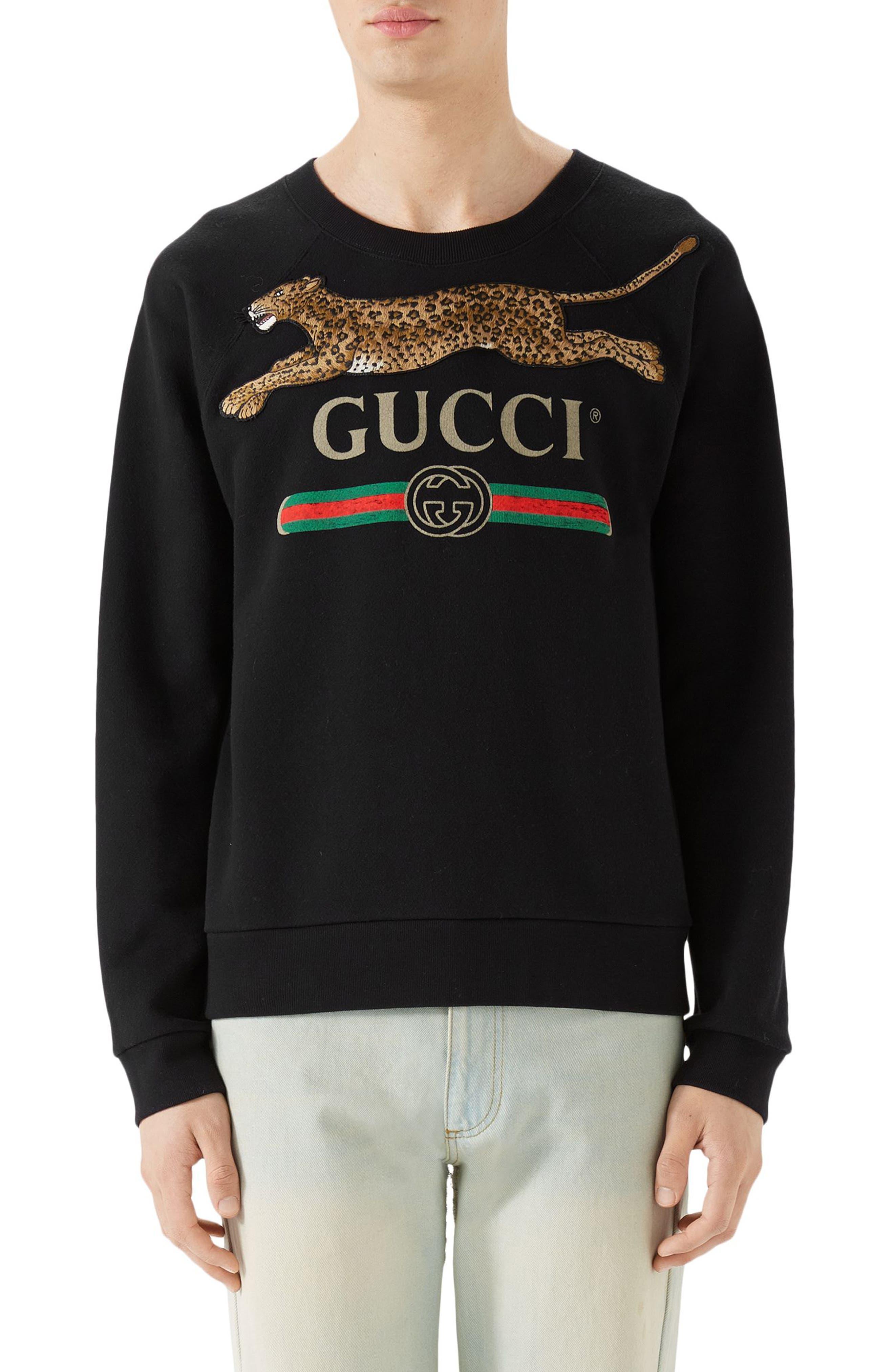 Cheetah Appliqué Logo Sweatshirt,                         Main,                         color, BLACK