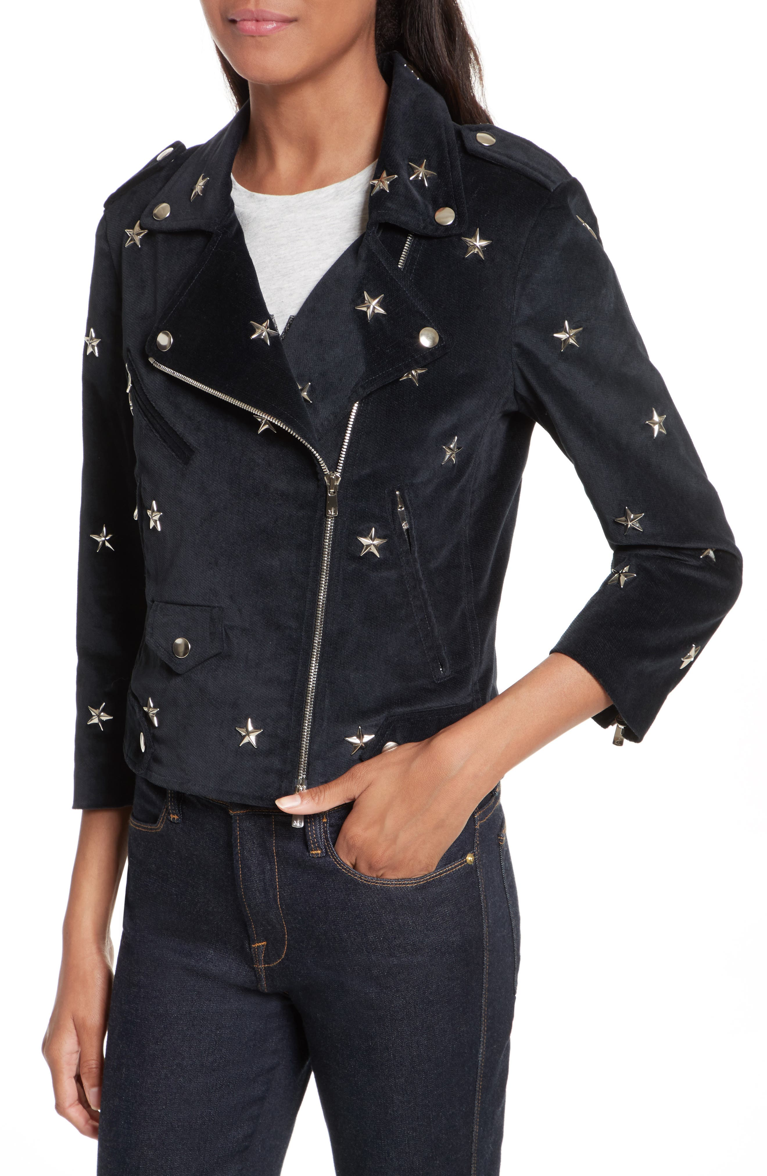 Wes Star Stud Moto Jacket,                             Alternate thumbnail 4, color,                             410