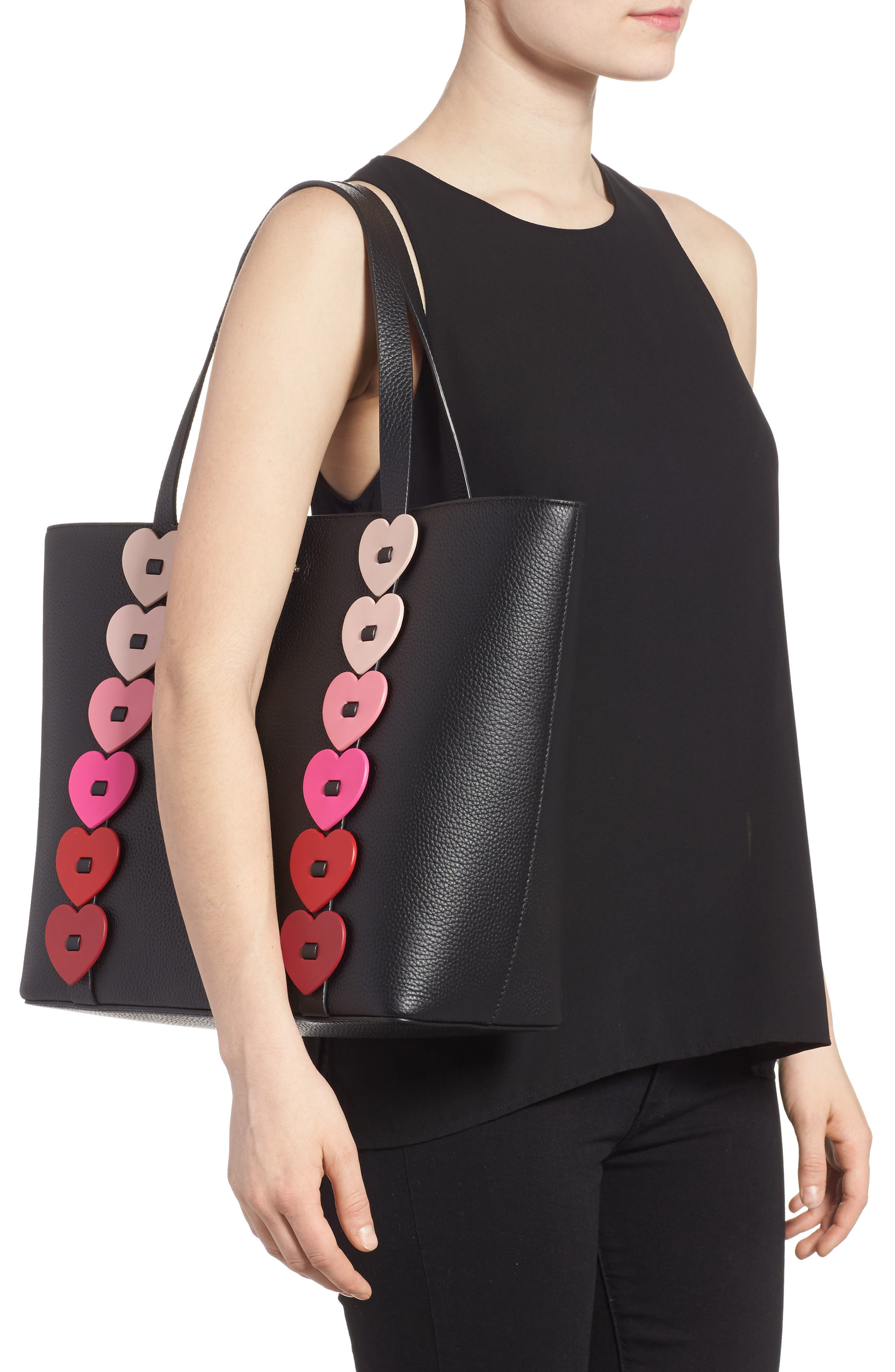 yours truly - ombré heart leather tote,                             Alternate thumbnail 2, color,