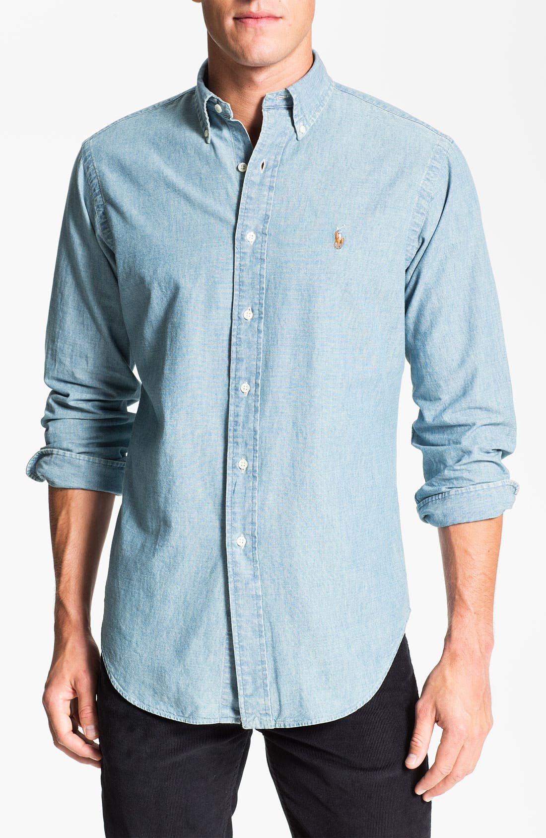 Classic Fit Chambray Sport Shirt, Main, color, 420