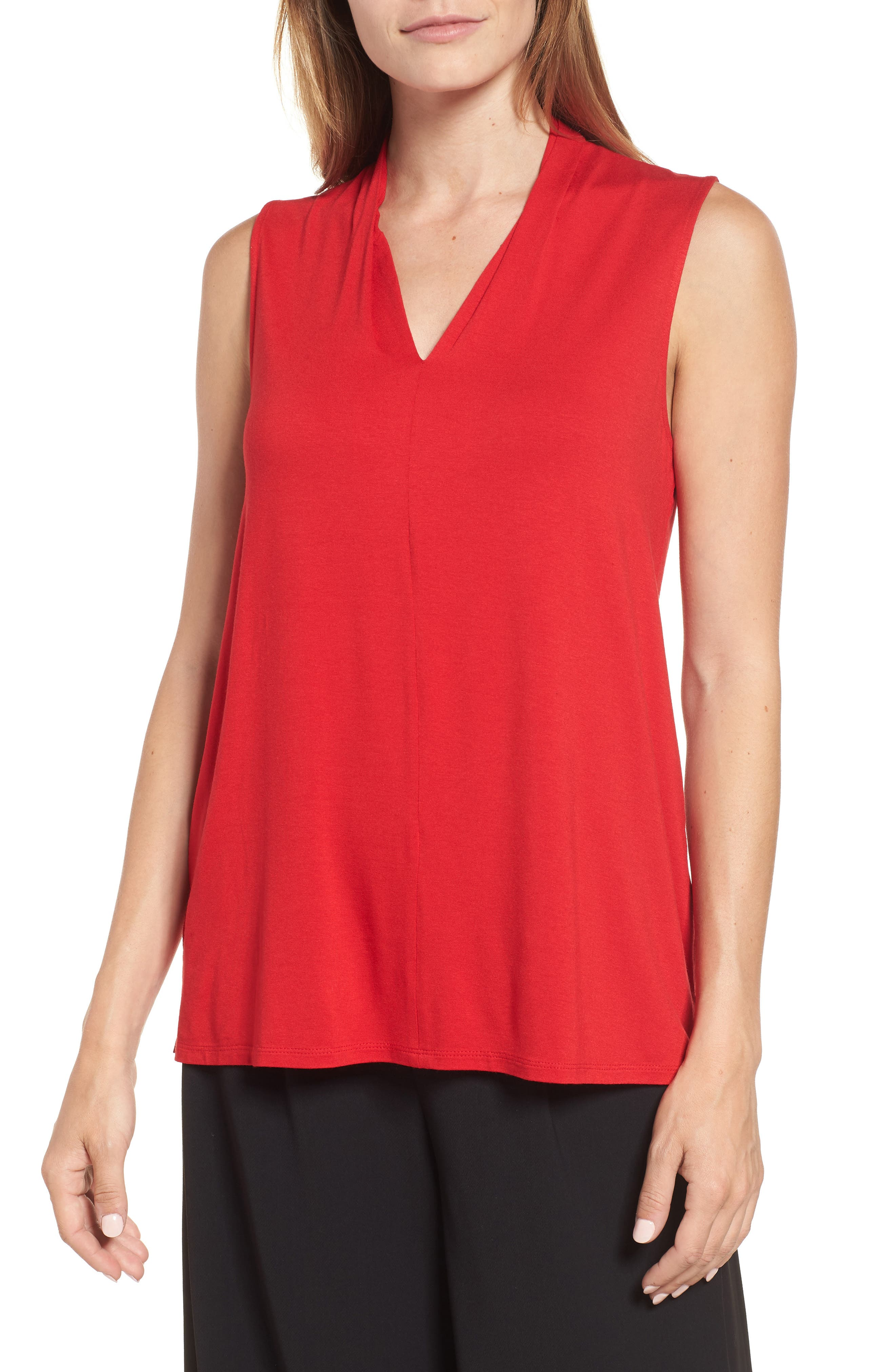 Sleeveless V-Neck Top,                         Main,                         color, RADIANT RED