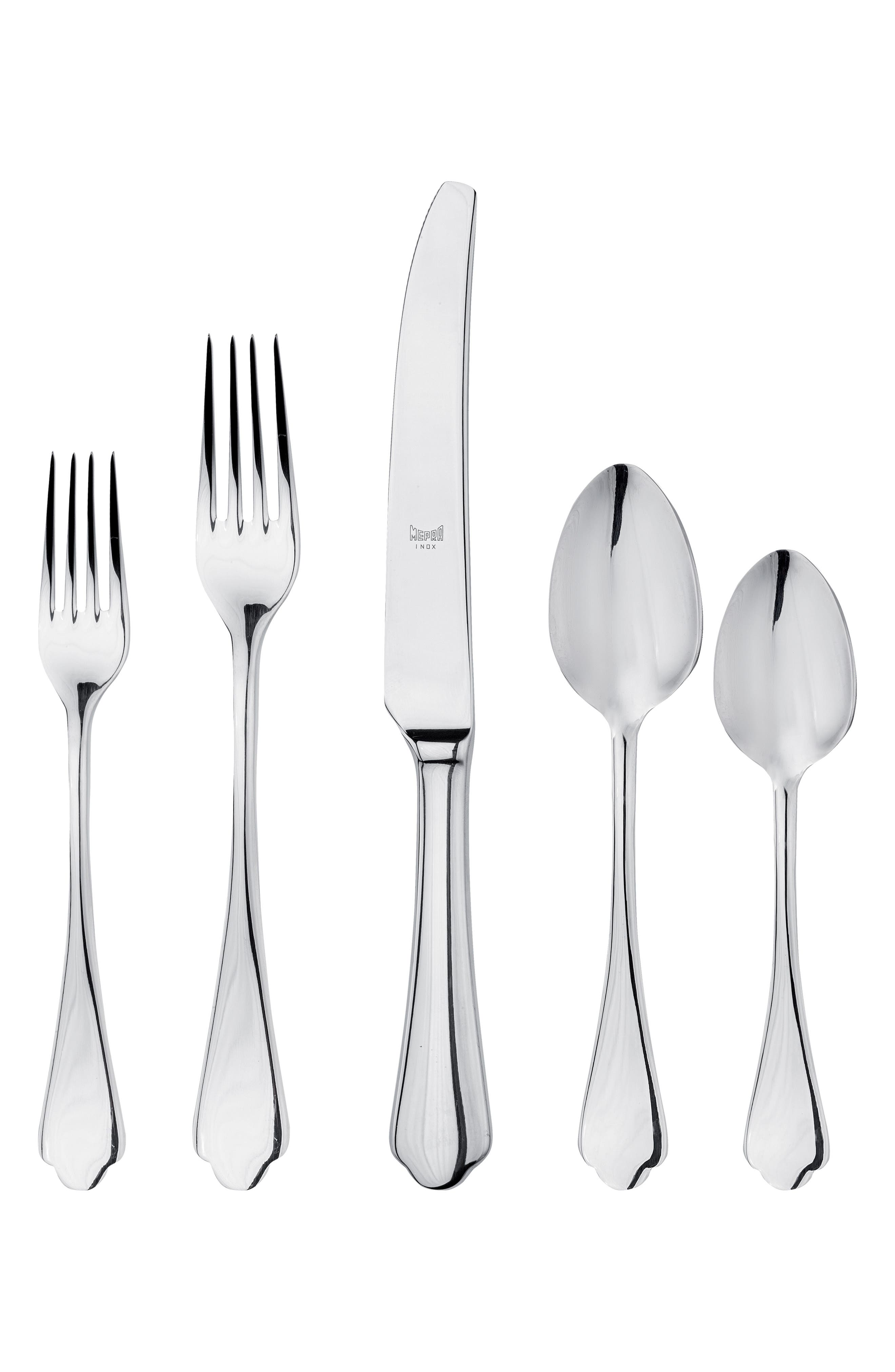 Dolce Vita 5-Piece Flatware Set,                             Main thumbnail 1, color,                             STAINLESS SHINY