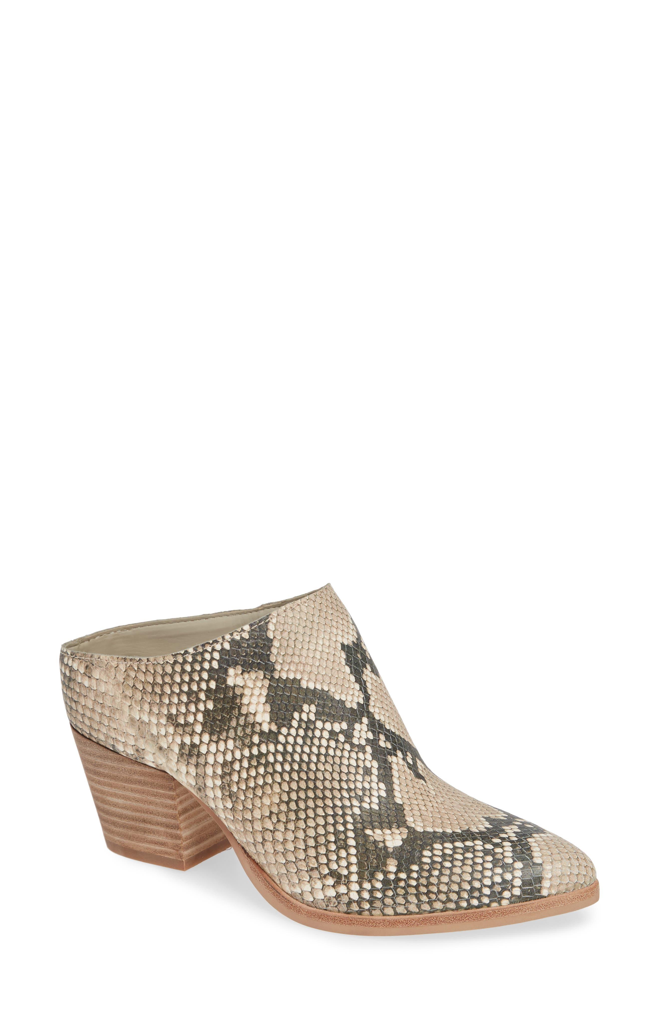 DOLCE VITA Women'S Roya Almond Toe Snakeskin-Embossed Leather Mid-Heel Mules in Snake Print