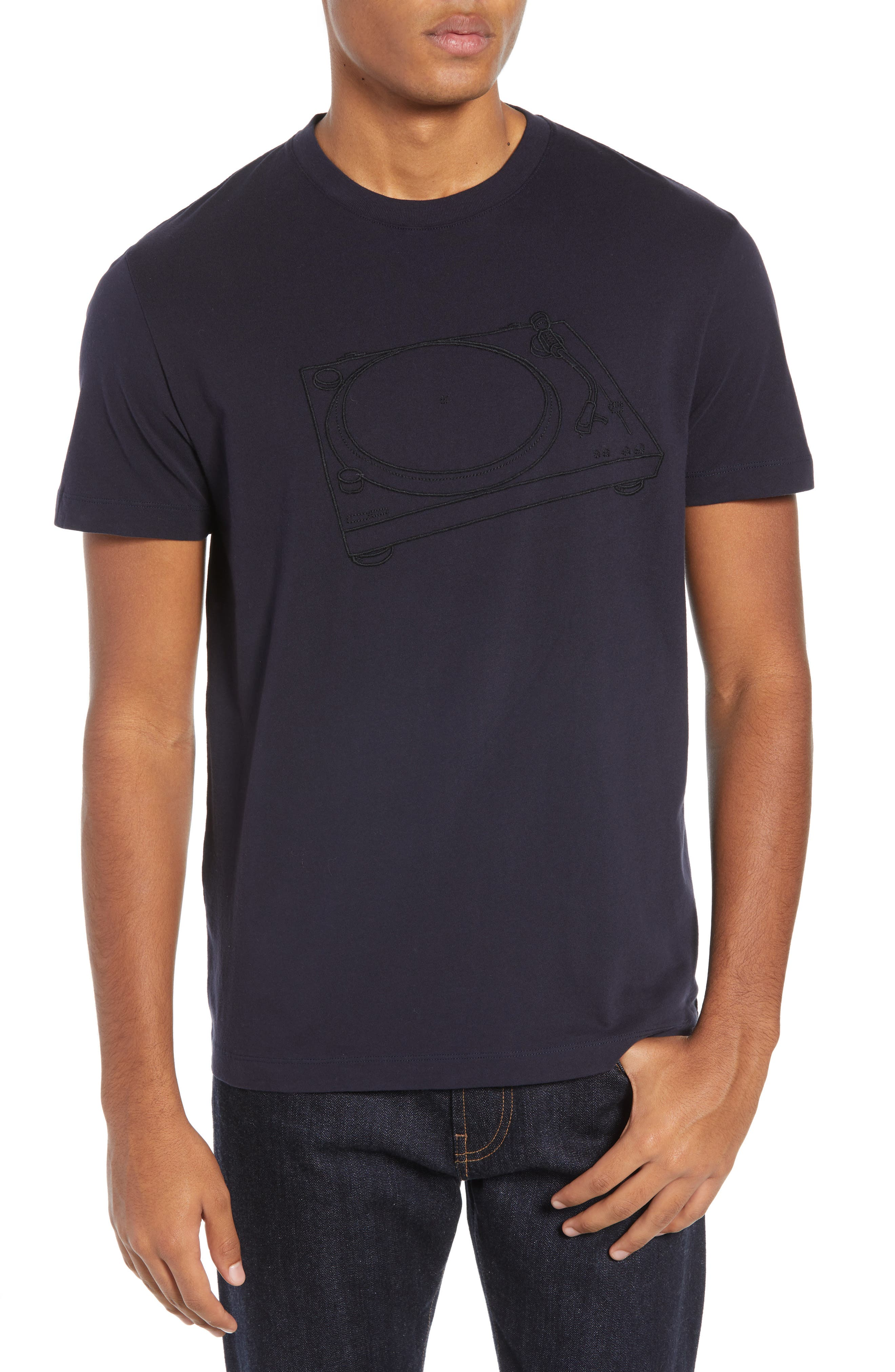 Decks Regular Fit Cotton T-Shirt, Main, color, UTILITY BLUE BLACK