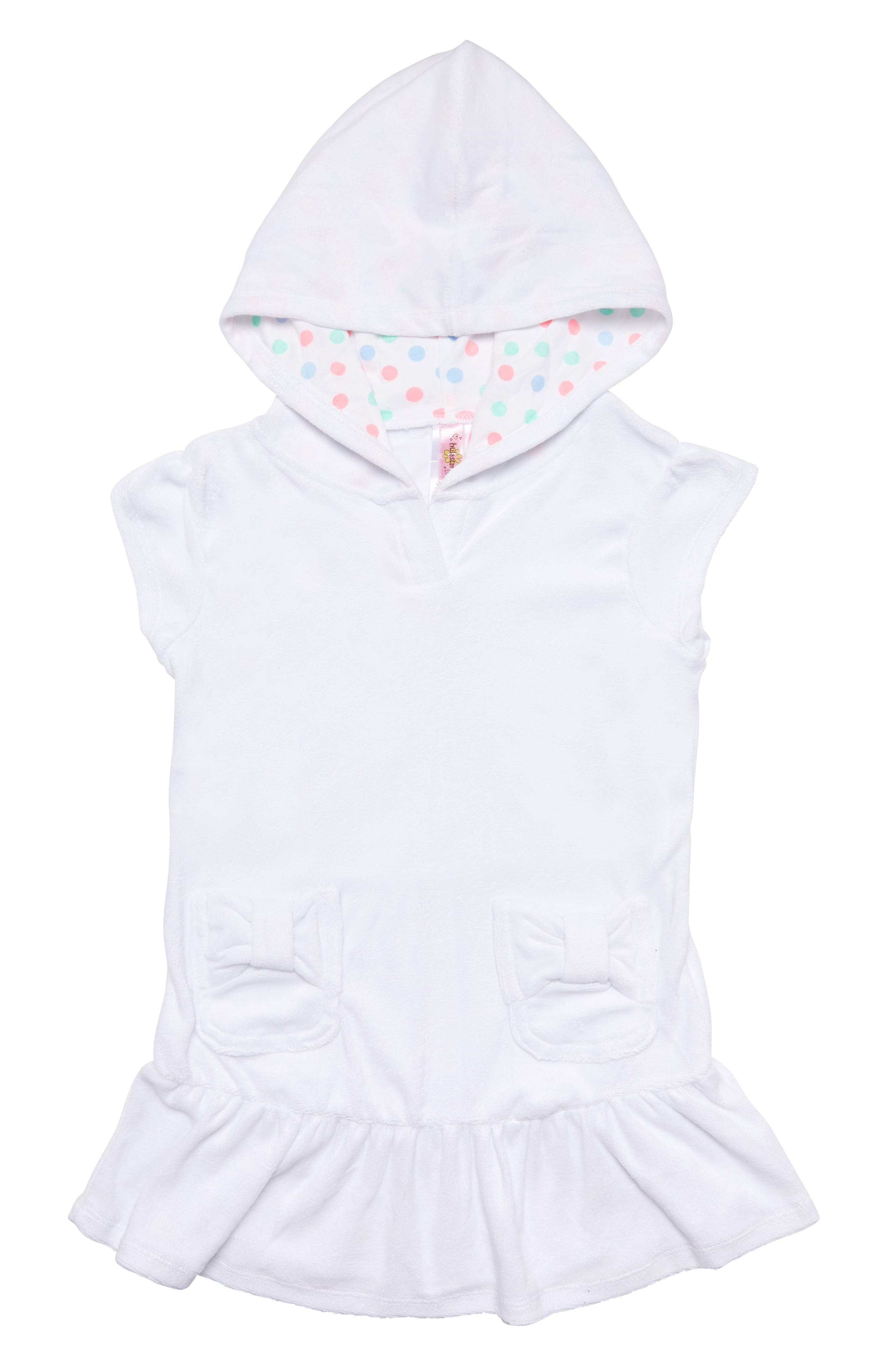 HULA STAR,                             Cotton Cloud Hooded Cover-Up Dress,                             Main thumbnail 1, color,                             WHITE