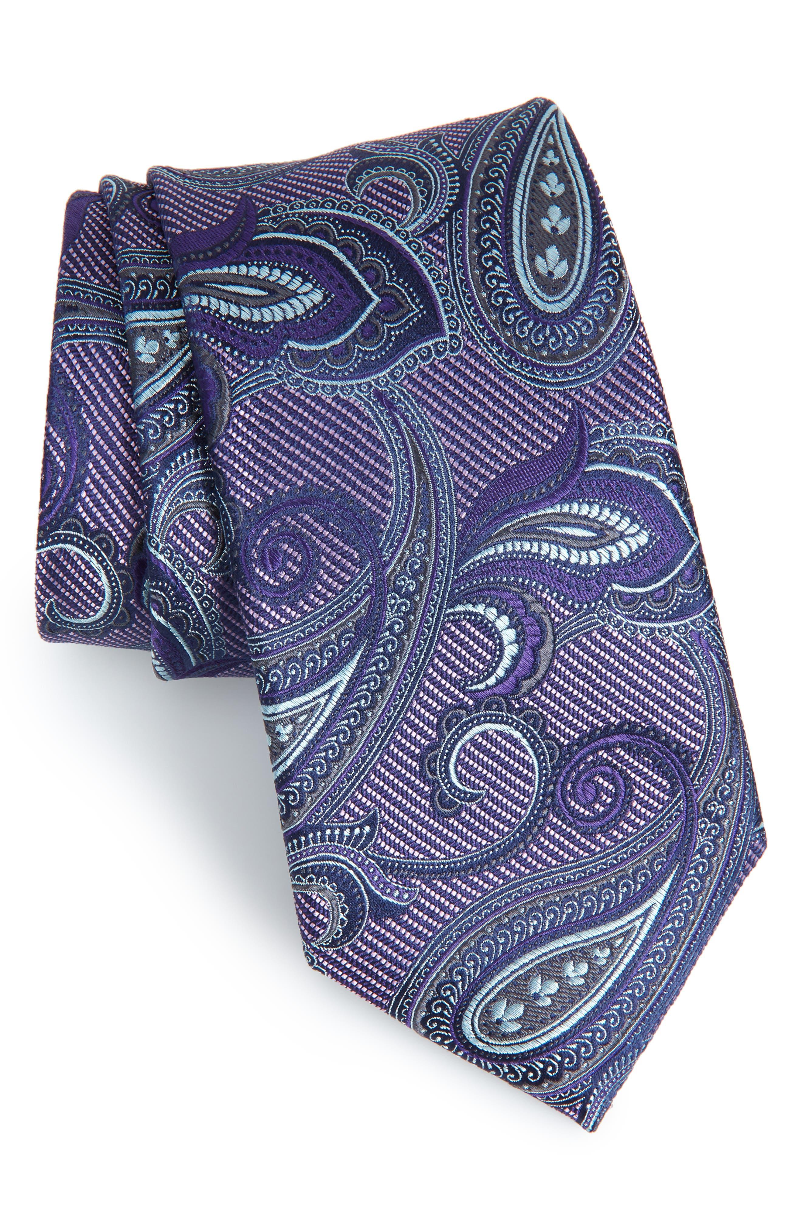 Palisades Paisley Silk Tie,                             Main thumbnail 1, color,                             PLUM