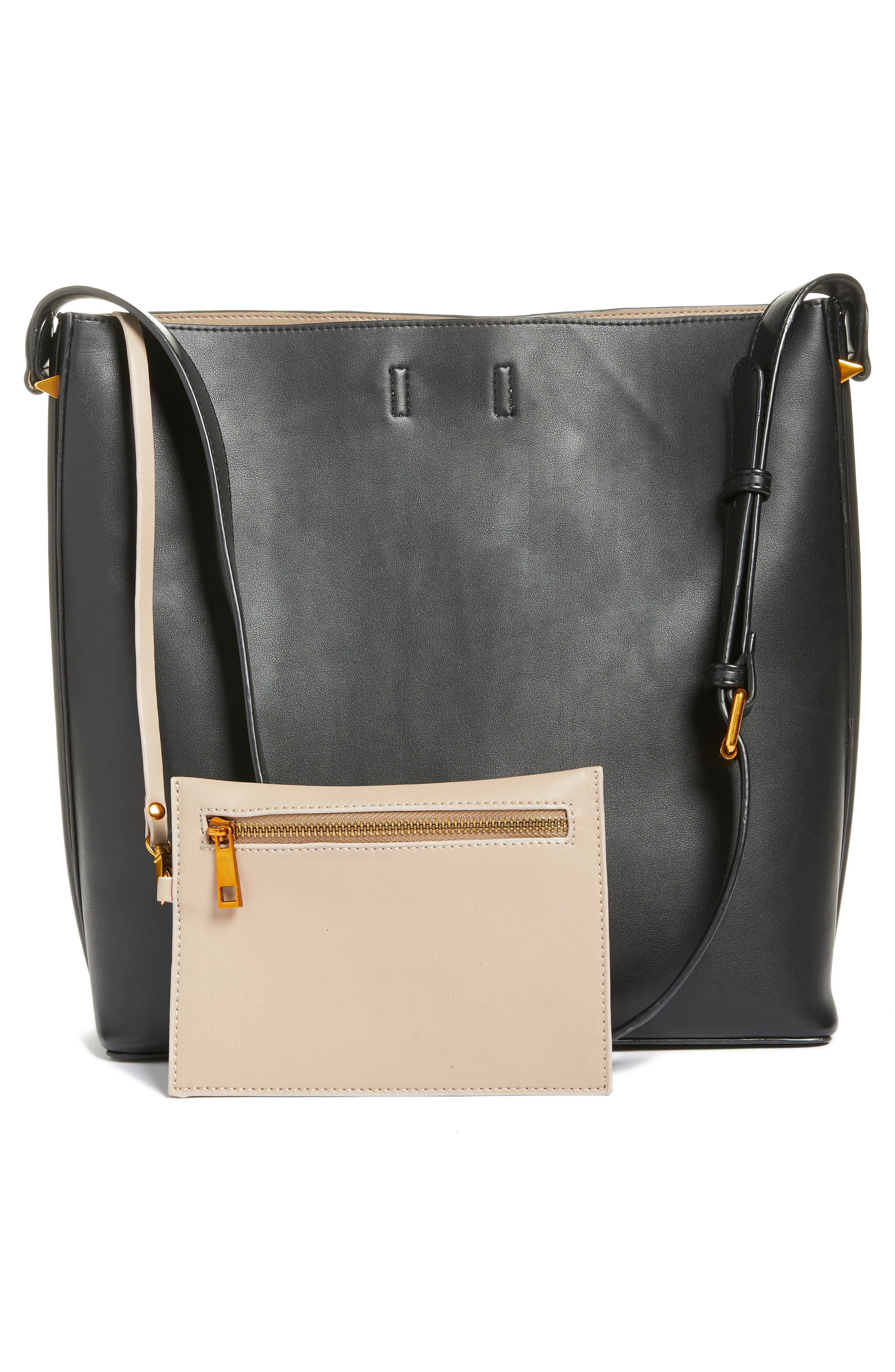 Faux Leather Bucket Tote,                             Alternate thumbnail 3, color,                             001