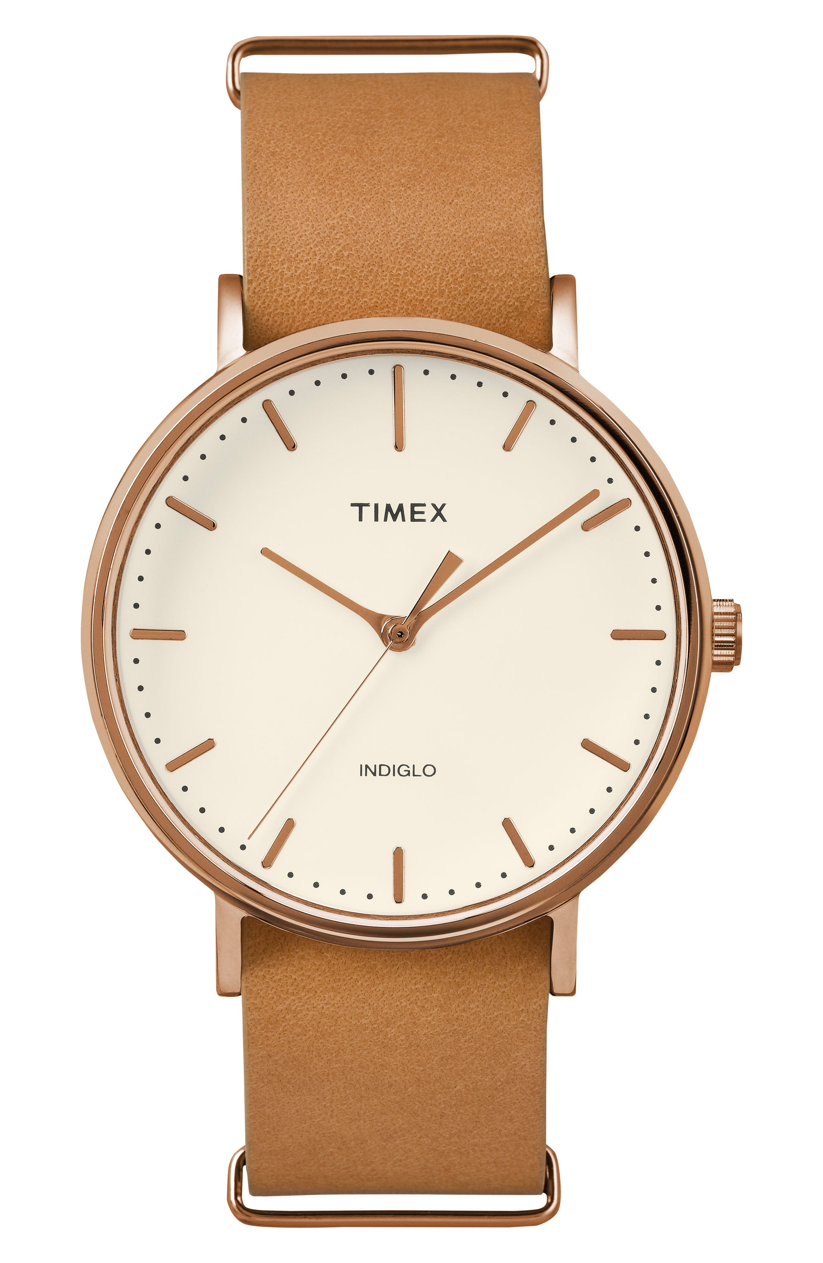 Fairfield Leather Strap Watch, 41mm,                             Main thumbnail 1, color,                             TAN/ WHITE/ ROSE GOLD
