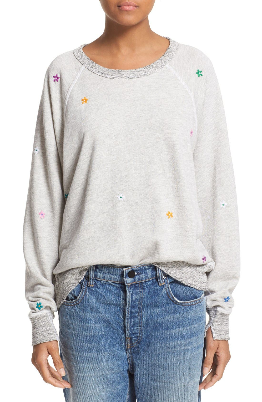 THE GREAT. 'The College' Embroidered Sweatshirt, Main, color, 060