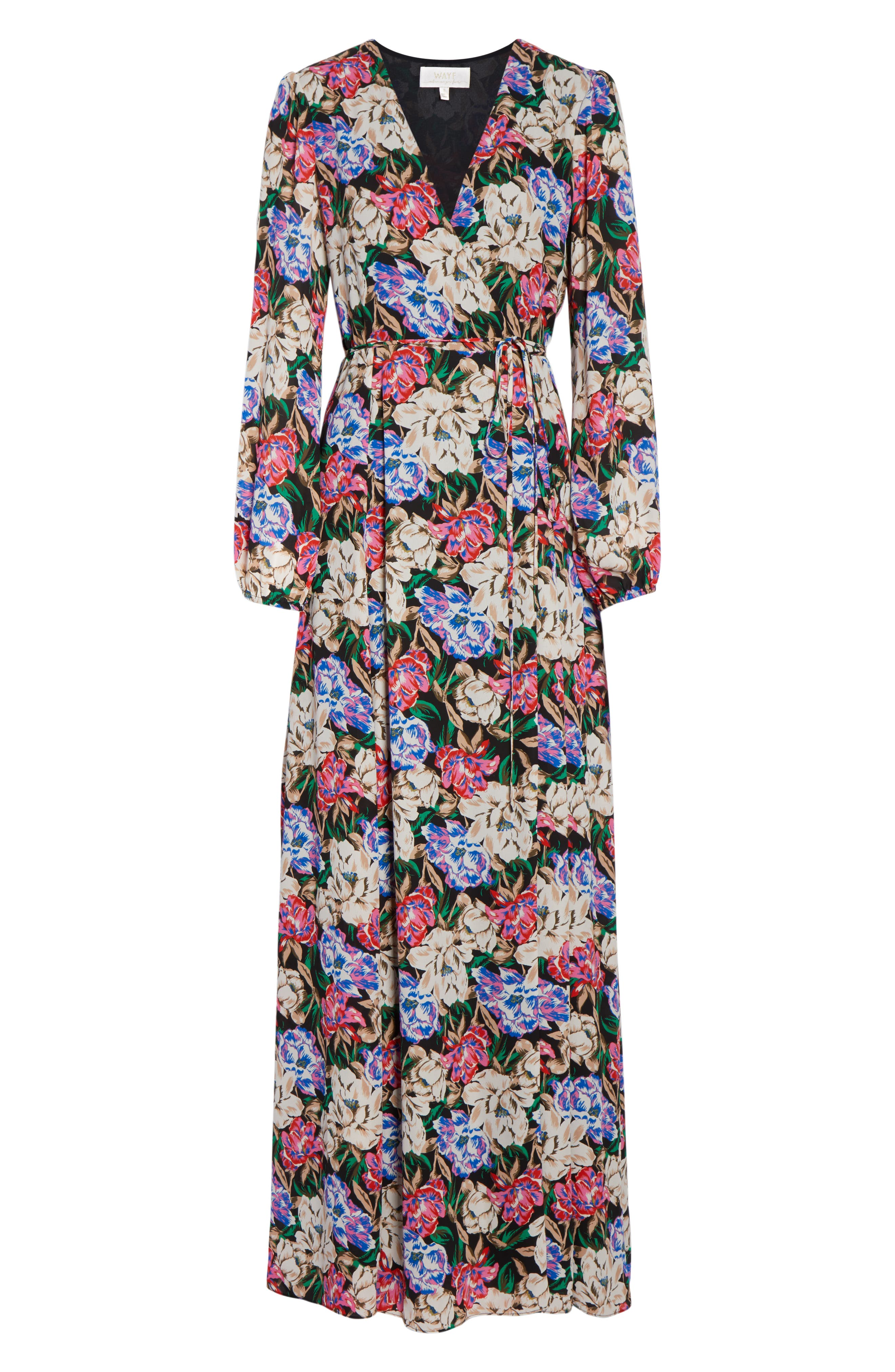 Lila Long Sleeve Wrap Gown,                             Alternate thumbnail 7, color,                             MIDNIGHT FLORAL