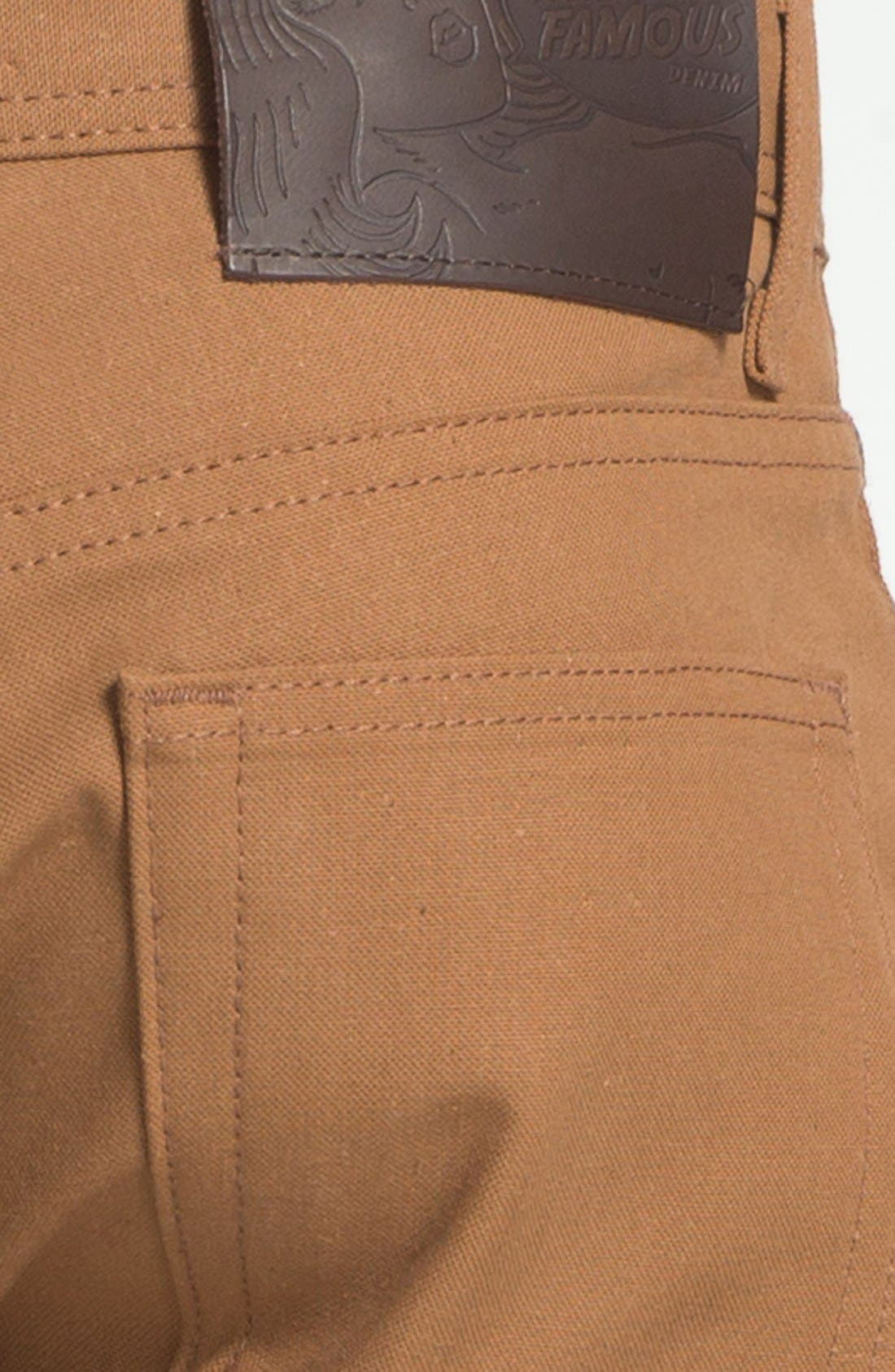 Weird Guy Slim Selvedge Duck Canvas Jeans,                             Alternate thumbnail 4, color,                             VINTAGE BROWN KHAKI