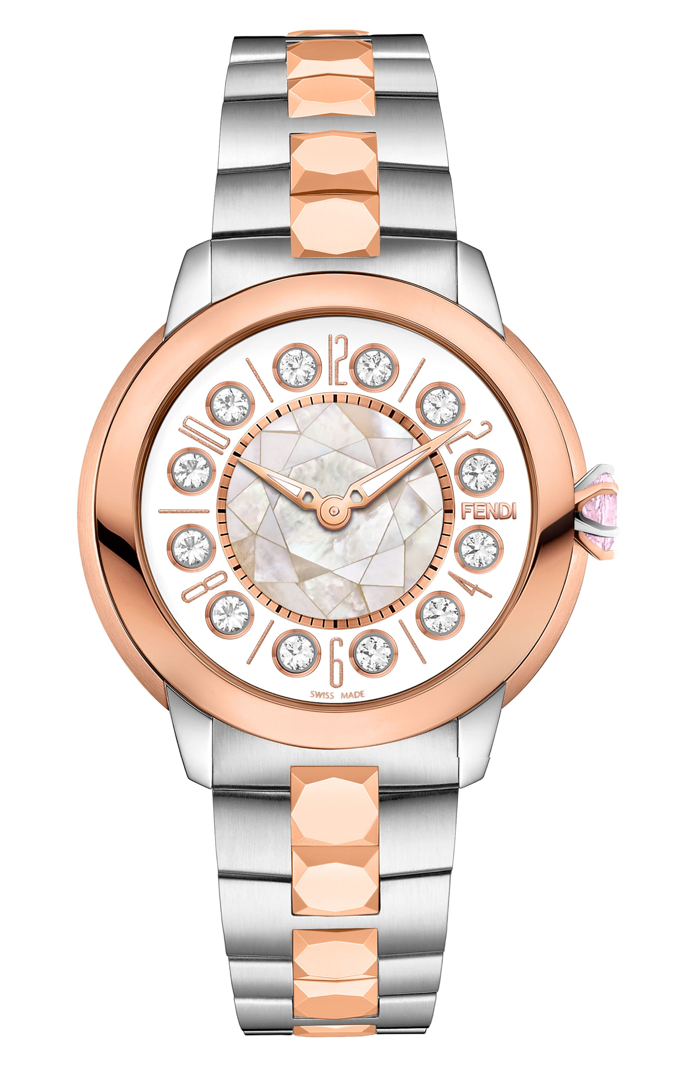 Ishine Rotating Stone Bracelet Watch, 33mm,                             Main thumbnail 1, color,                             SILVER/ MOP/ ROSE GOLD