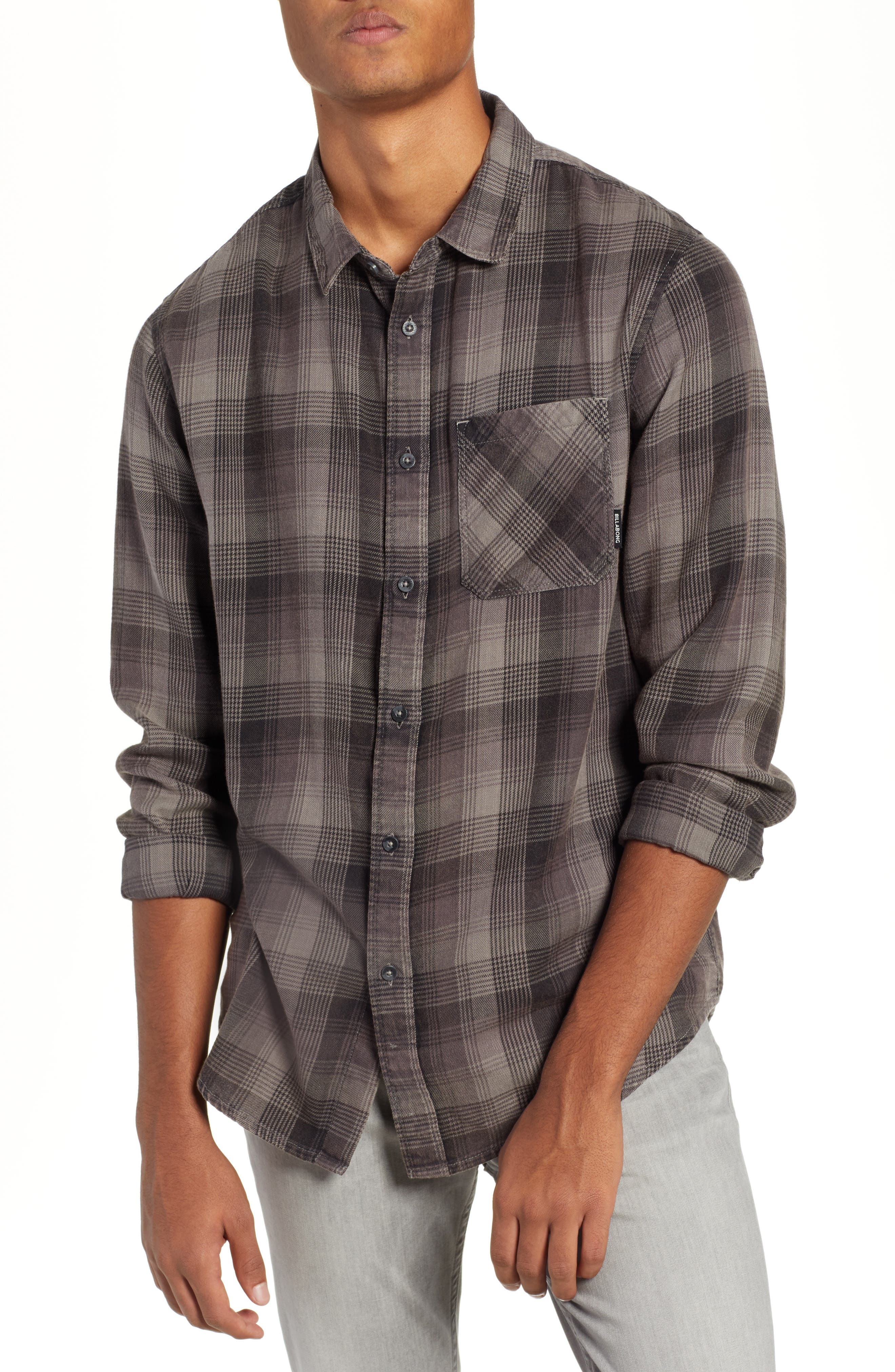 Freemont Flannel Shirt,                             Main thumbnail 1, color,                             CHARCOAL
