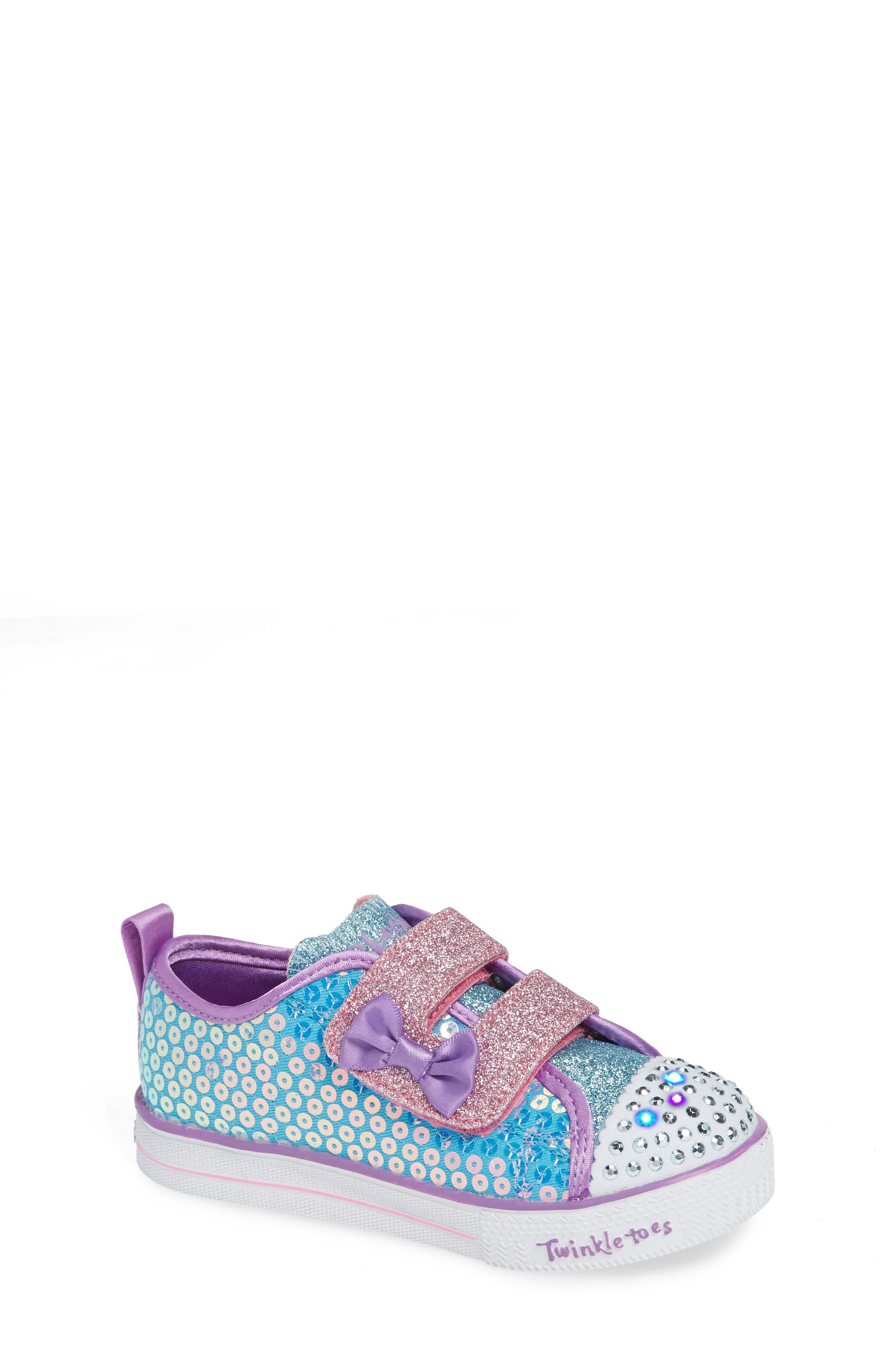 Shuffle Lite Glitter Sneaker,                             Alternate thumbnail 7, color,                             TURQUOISE/MULTI