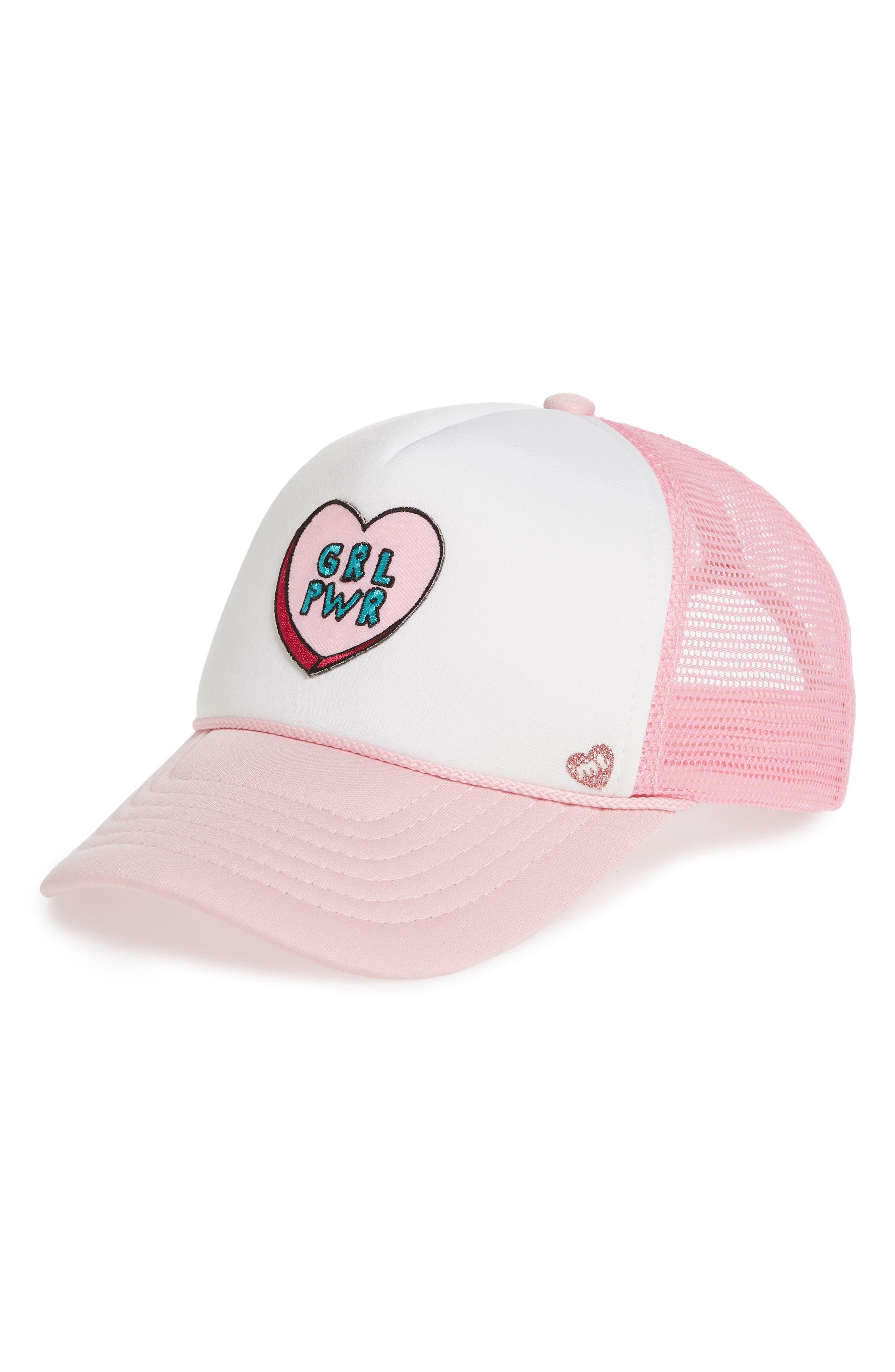 MOTHER TRUCKER & CO.,                             Girl Power Trucker Hat,                             Main thumbnail 1, color,                             LT PNK/ WHT